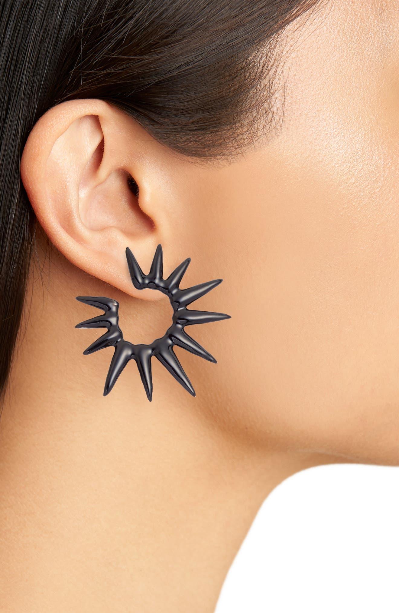 Small Enamel Sea Urchin Earrings,                             Alternate thumbnail 2, color,                             001