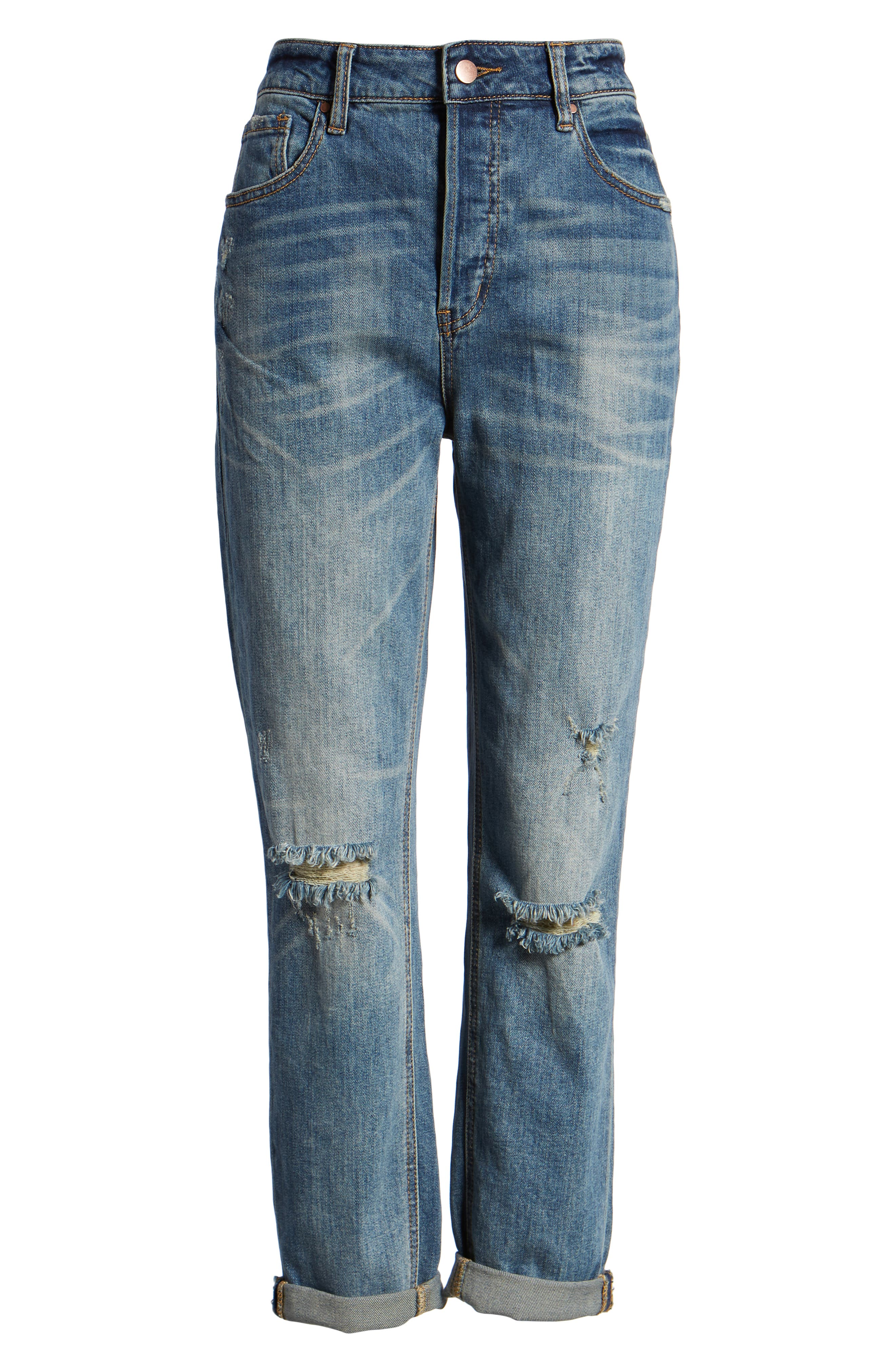 Billie Distressed Relaxed Jeans,                             Alternate thumbnail 7, color,                             CAMEO