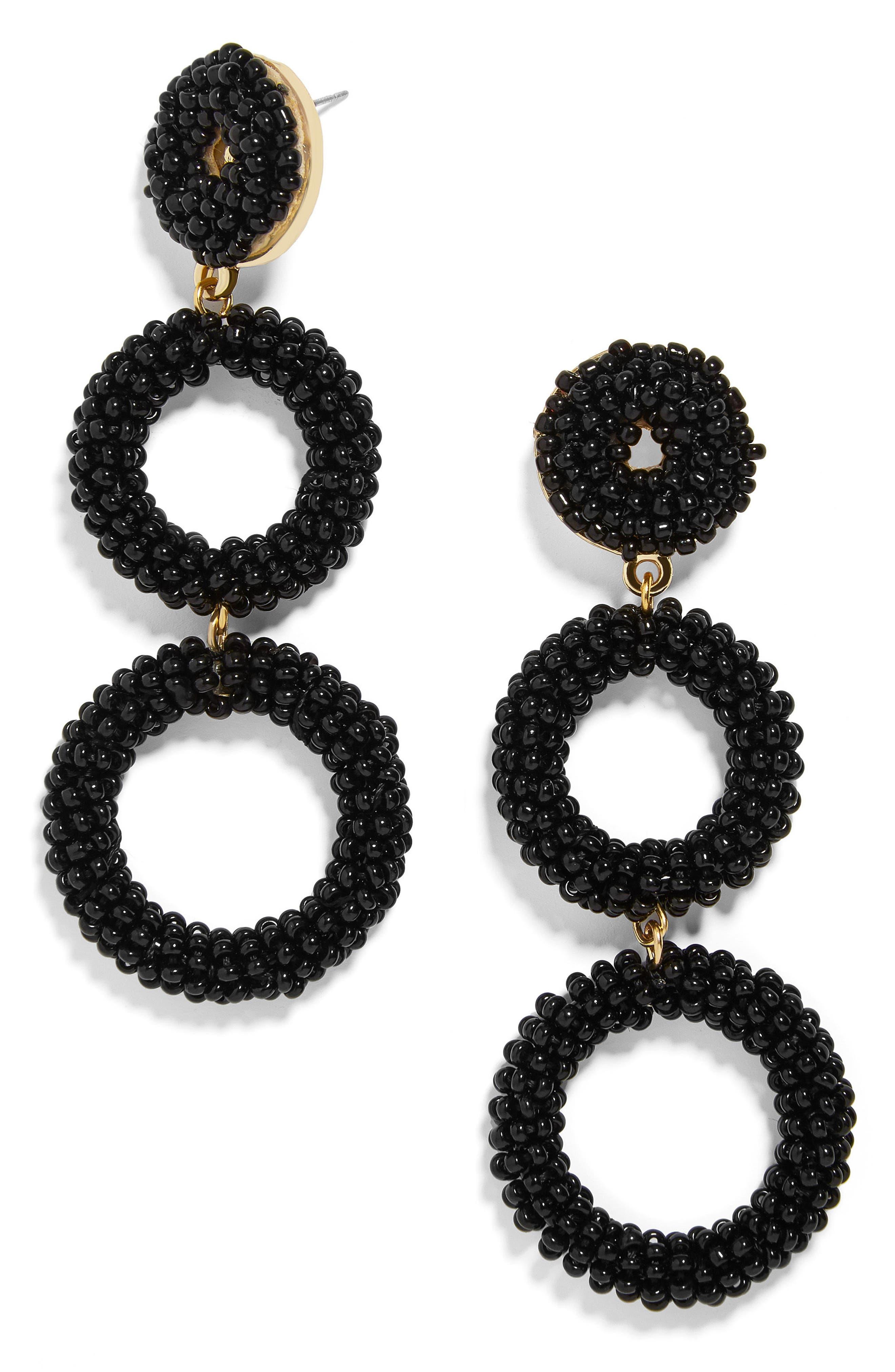 Capella Beaded Triple Hoop Drop Earrings,                         Main,                         color, BLACK