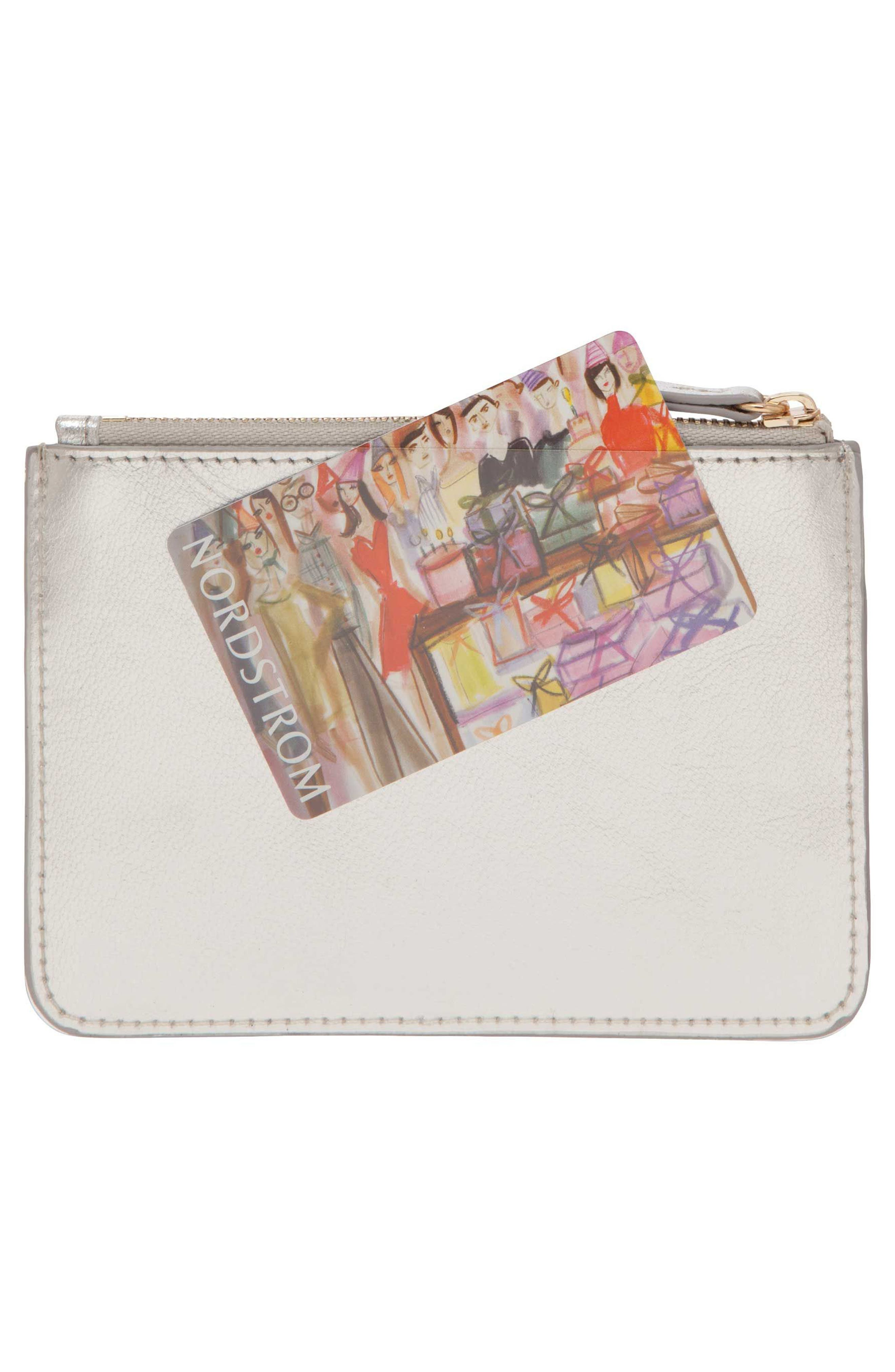 Privacy Leather Coin Pouch,                             Alternate thumbnail 5, color,                             SILVER
