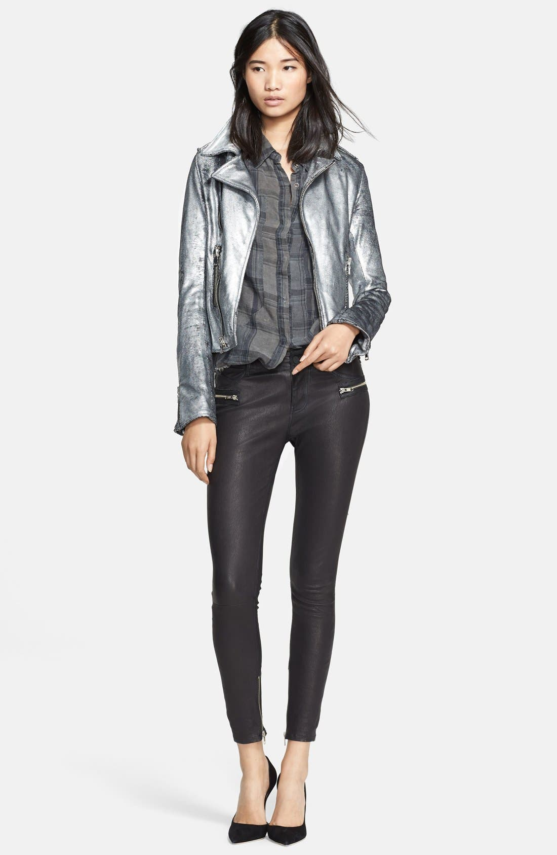 Metallic Leather Biker Jacket,                             Alternate thumbnail 5, color,                             099