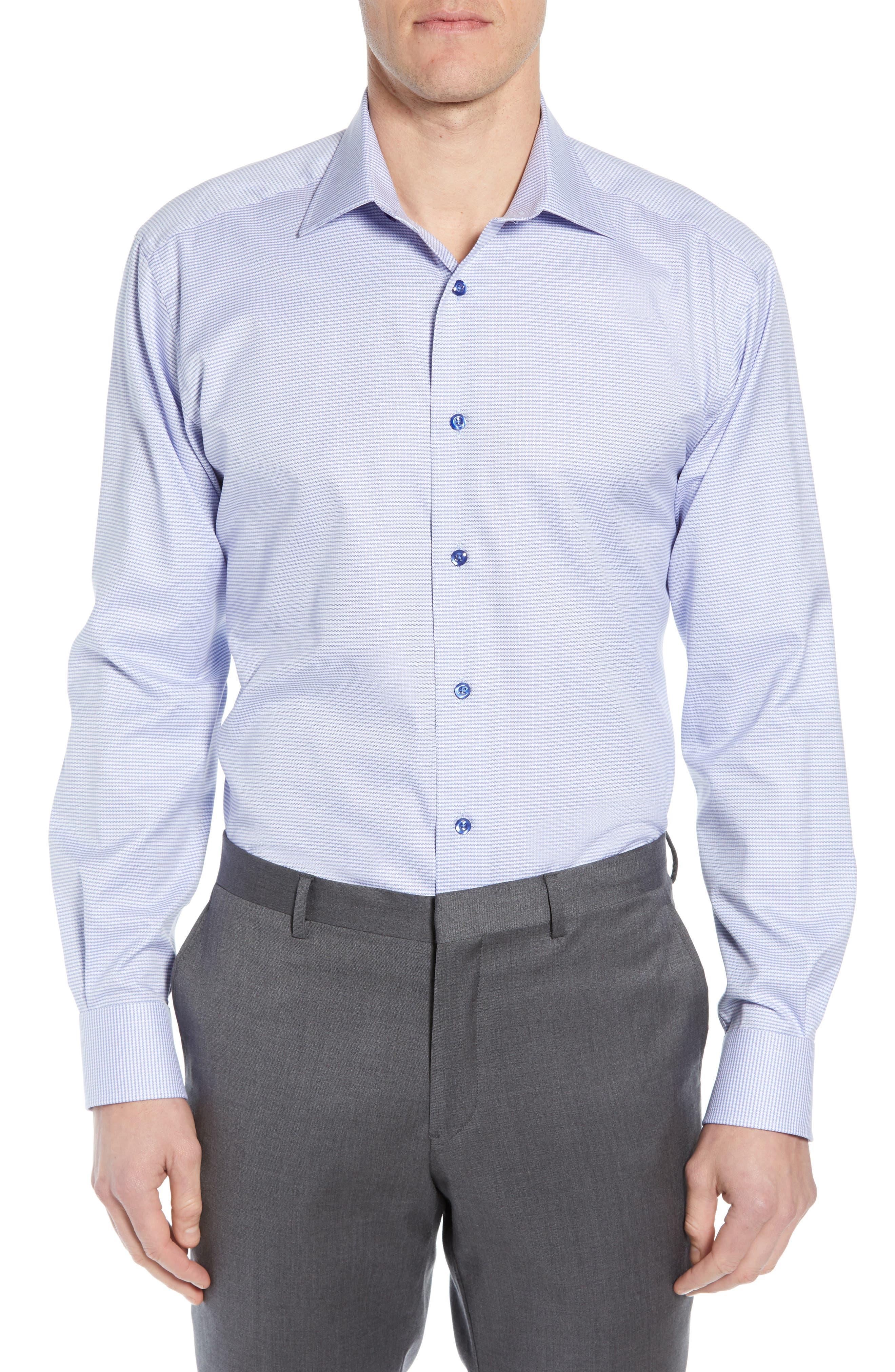 Men'S Regular-Fit Micro-Gingham Dress Shirt in Blue