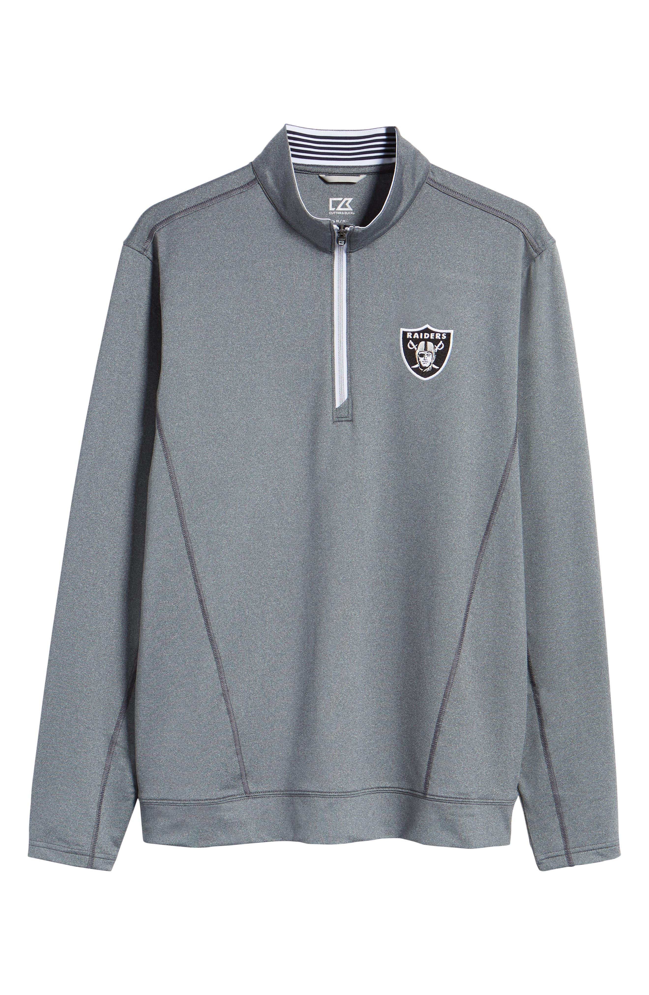 Endurance Oakland Raiders Regular Fit Pullover,                             Alternate thumbnail 6, color,                             CHARCOAL HEATHER