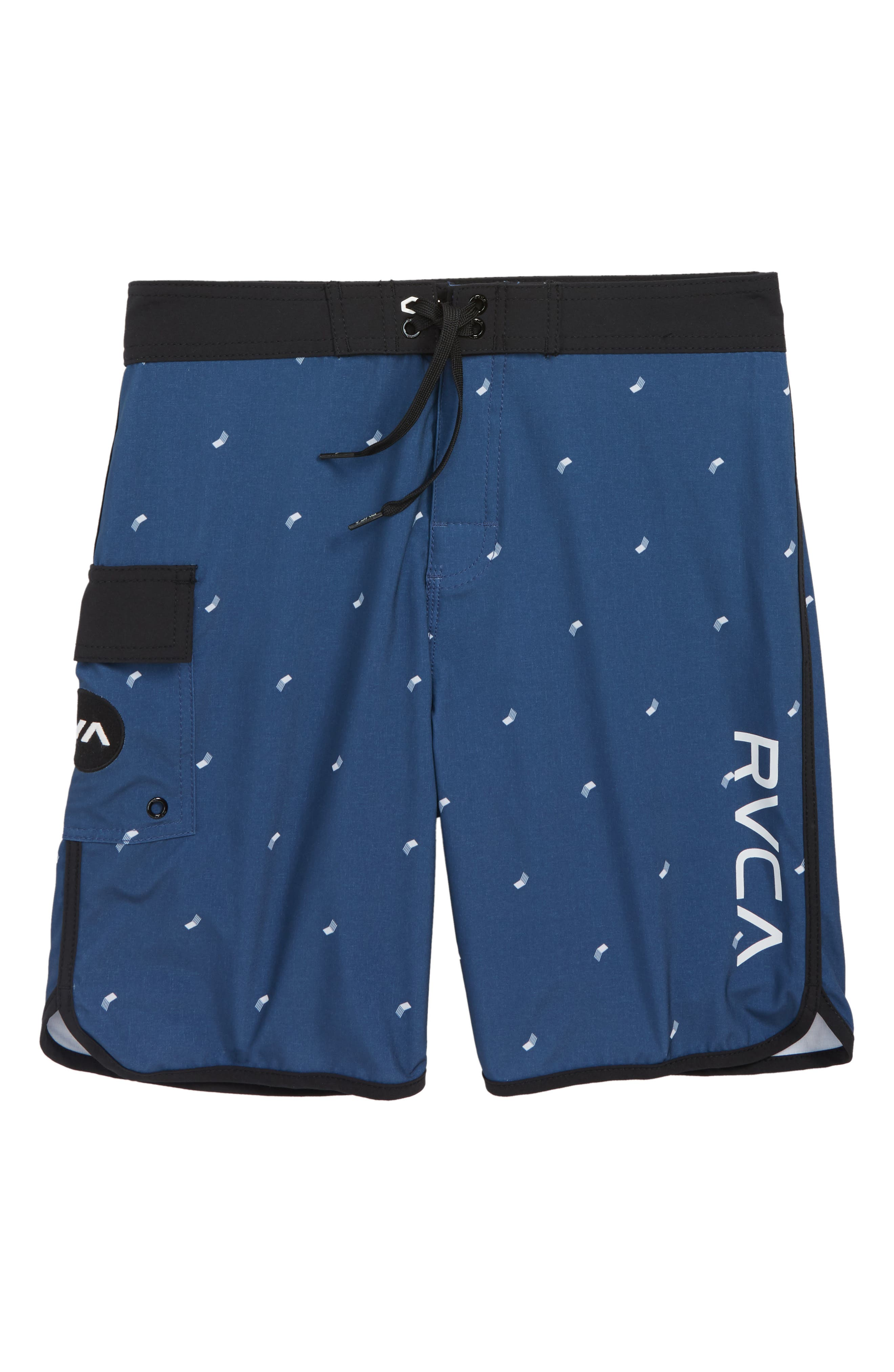 'Eastern' Scalloped Hem Board Shorts,                         Main,                         color, SEATTLE BLUE