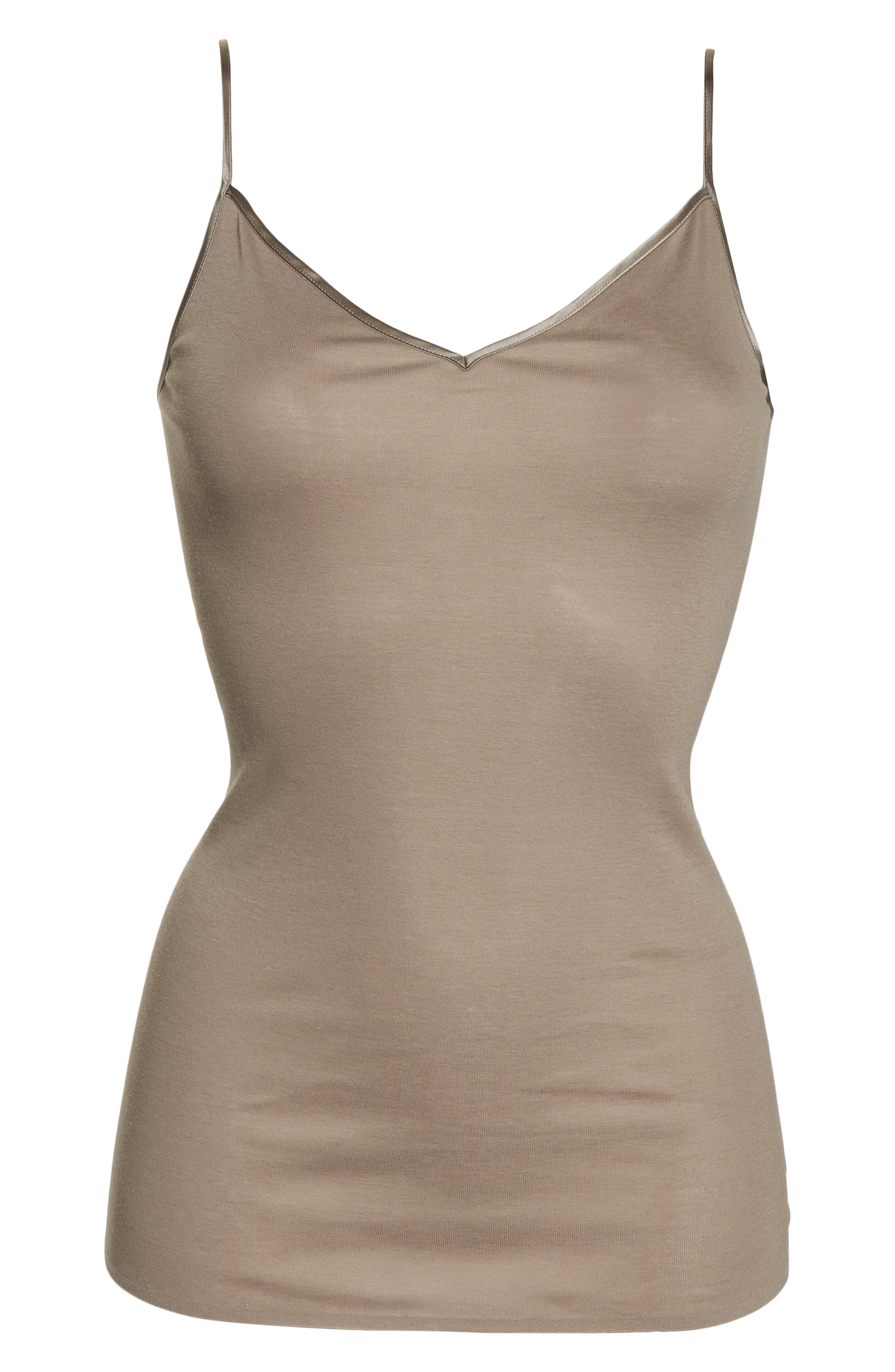 HANRO,                             Seamless V-Neck Cotton Camisole,                             Alternate thumbnail 6, color,                             VINTAGE TAUPE 1871