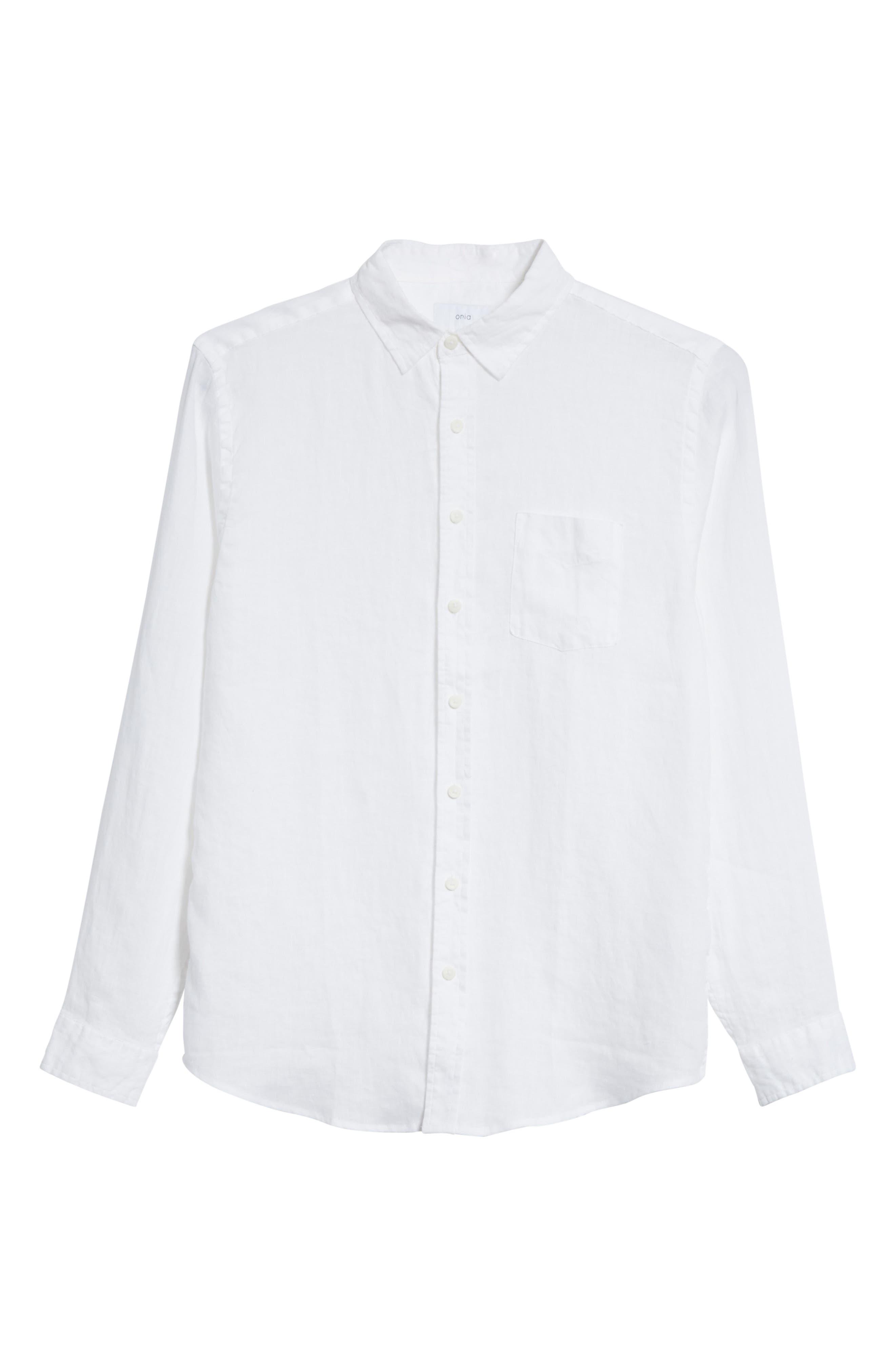 Abe Linen Shirt,                             Alternate thumbnail 5, color,                             WHITE