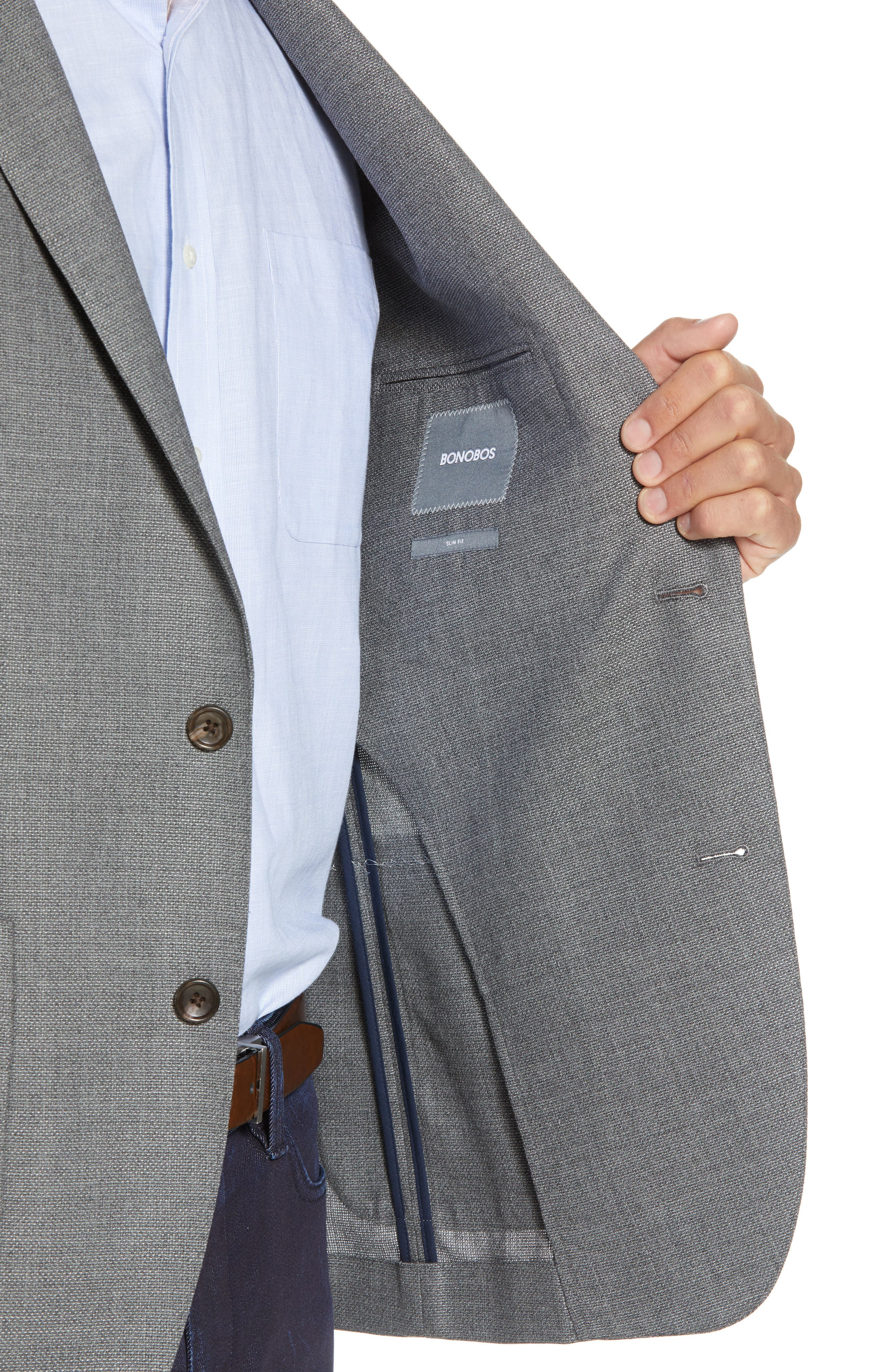 Trim Fit Wool Blazer,                             Alternate thumbnail 4, color,                             MID GREY