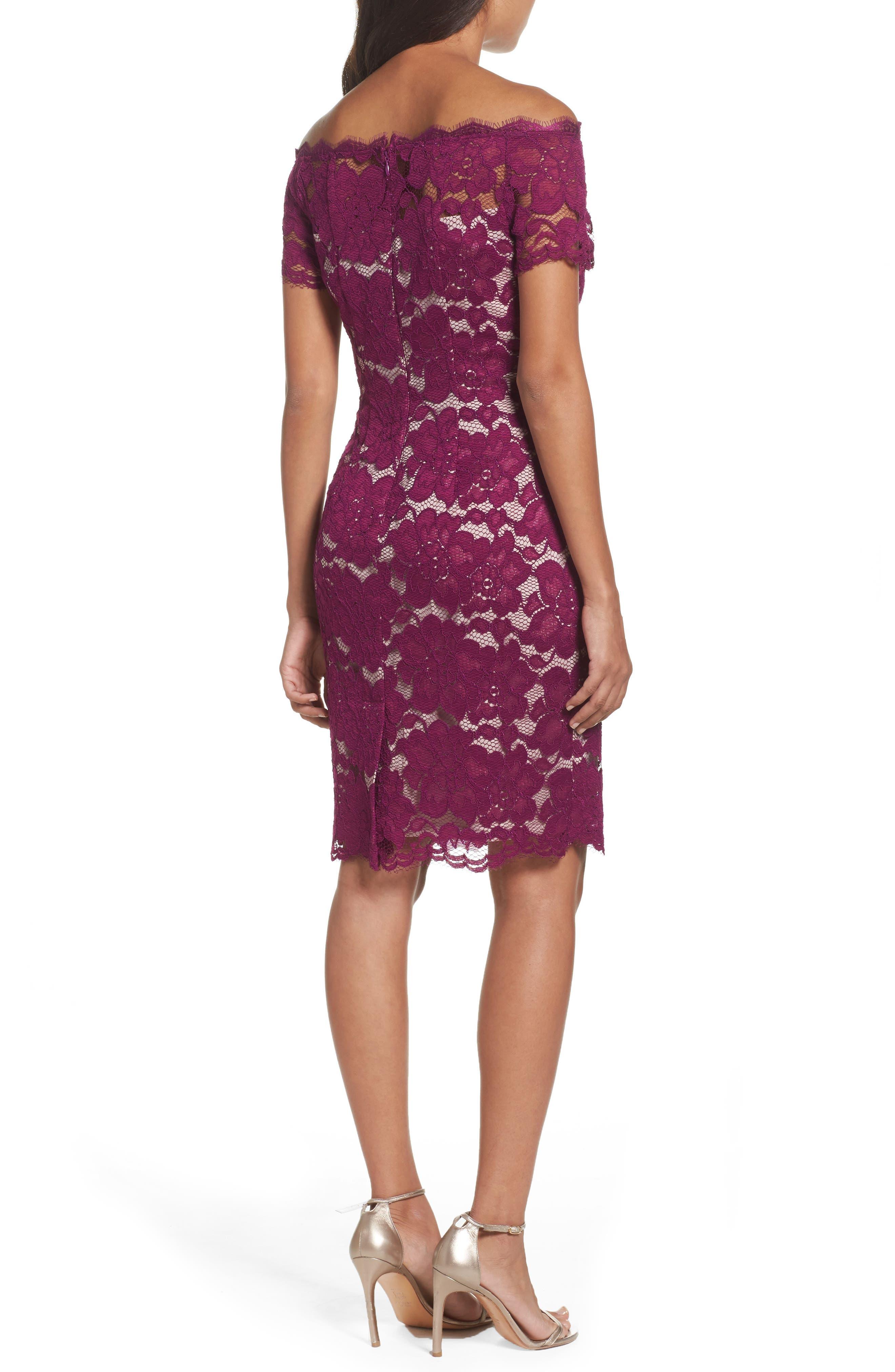 Off the Shoulder Lace Sheath Dress,                             Alternate thumbnail 10, color,