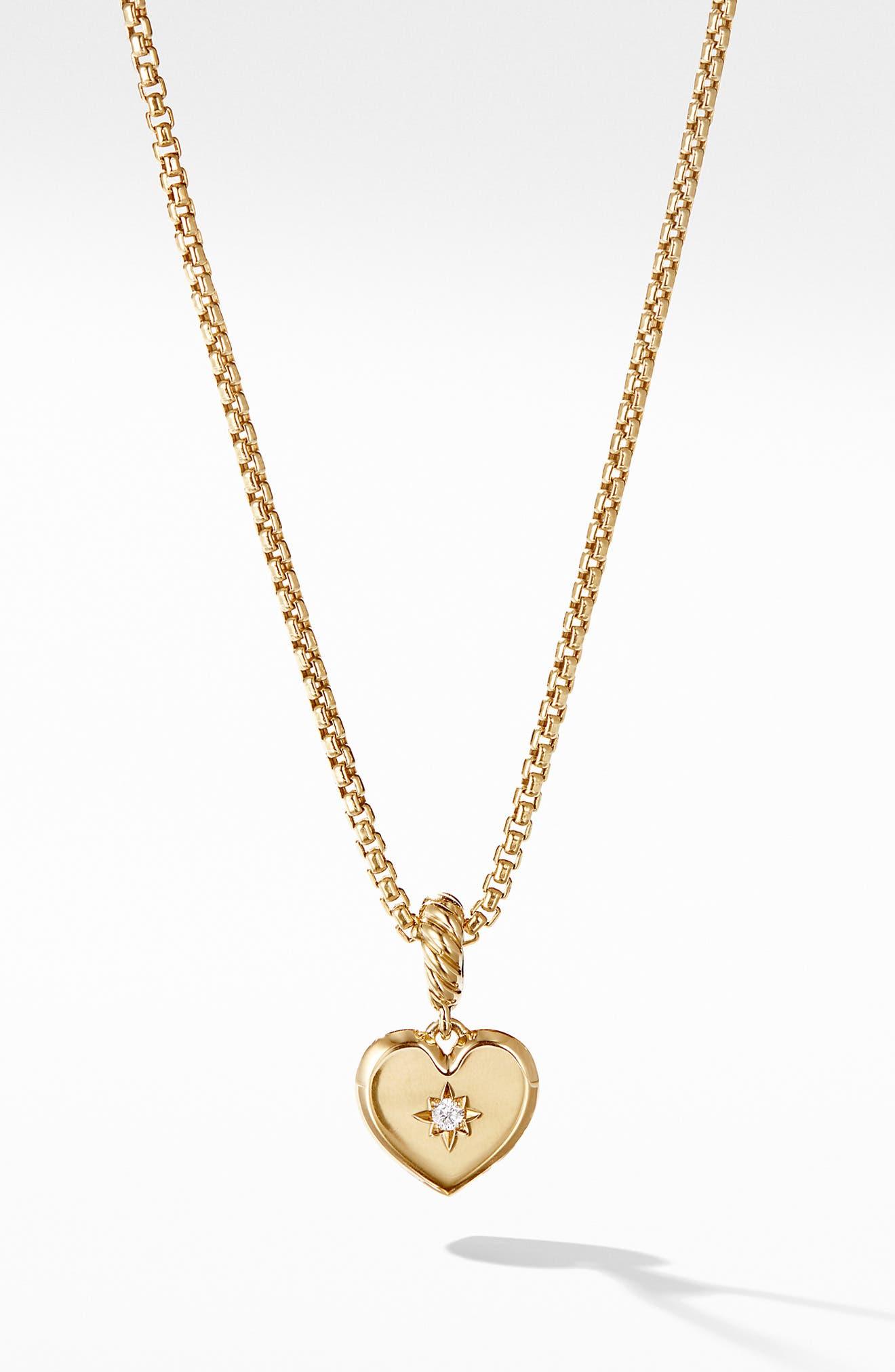 Pavé &18K Gold Compass Heart Pendant Enhancer, Main, color, 711
