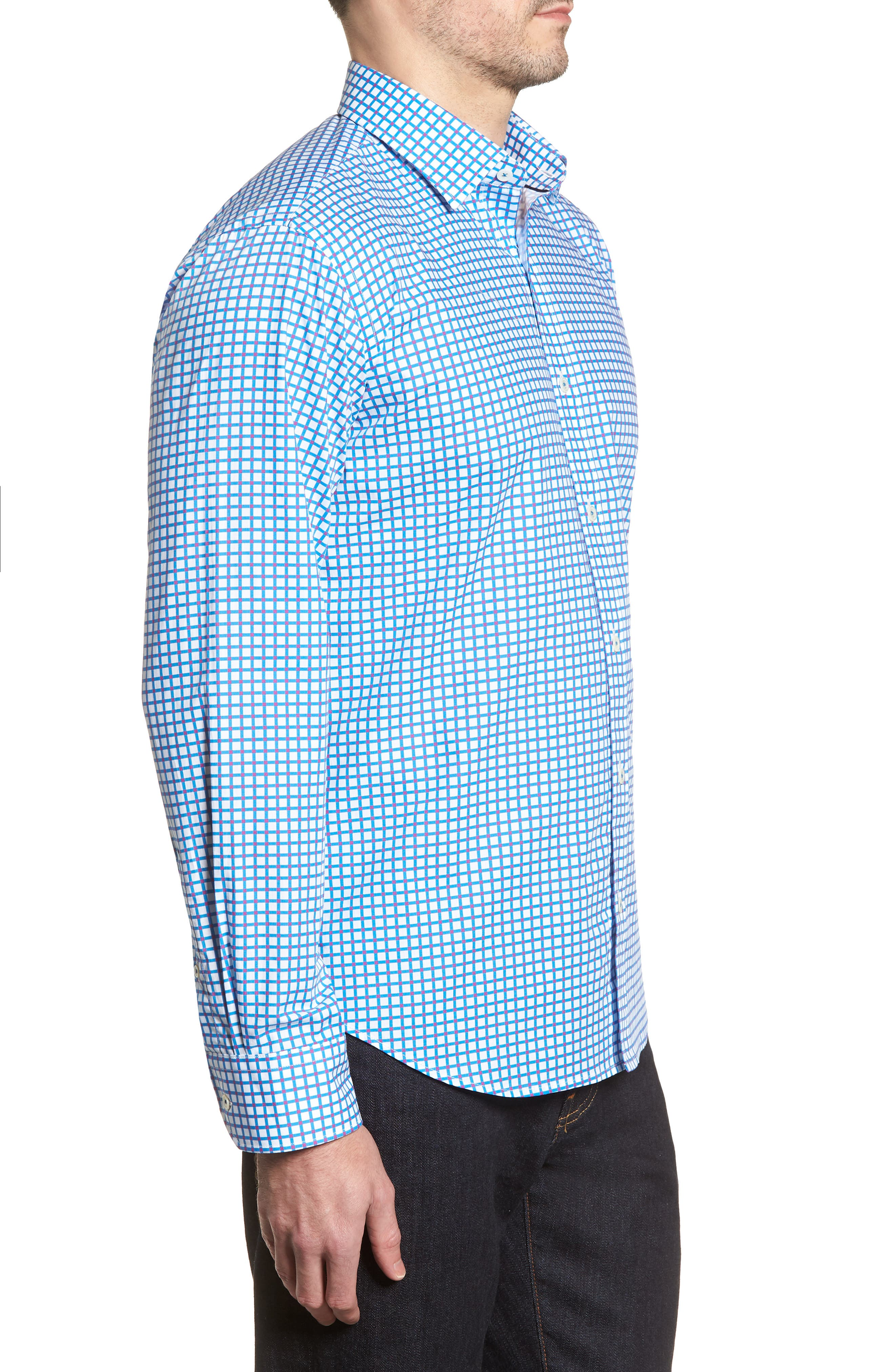 Classic Fit Dot Check Sport Shirt,                             Alternate thumbnail 3, color,                             TURQUOISE