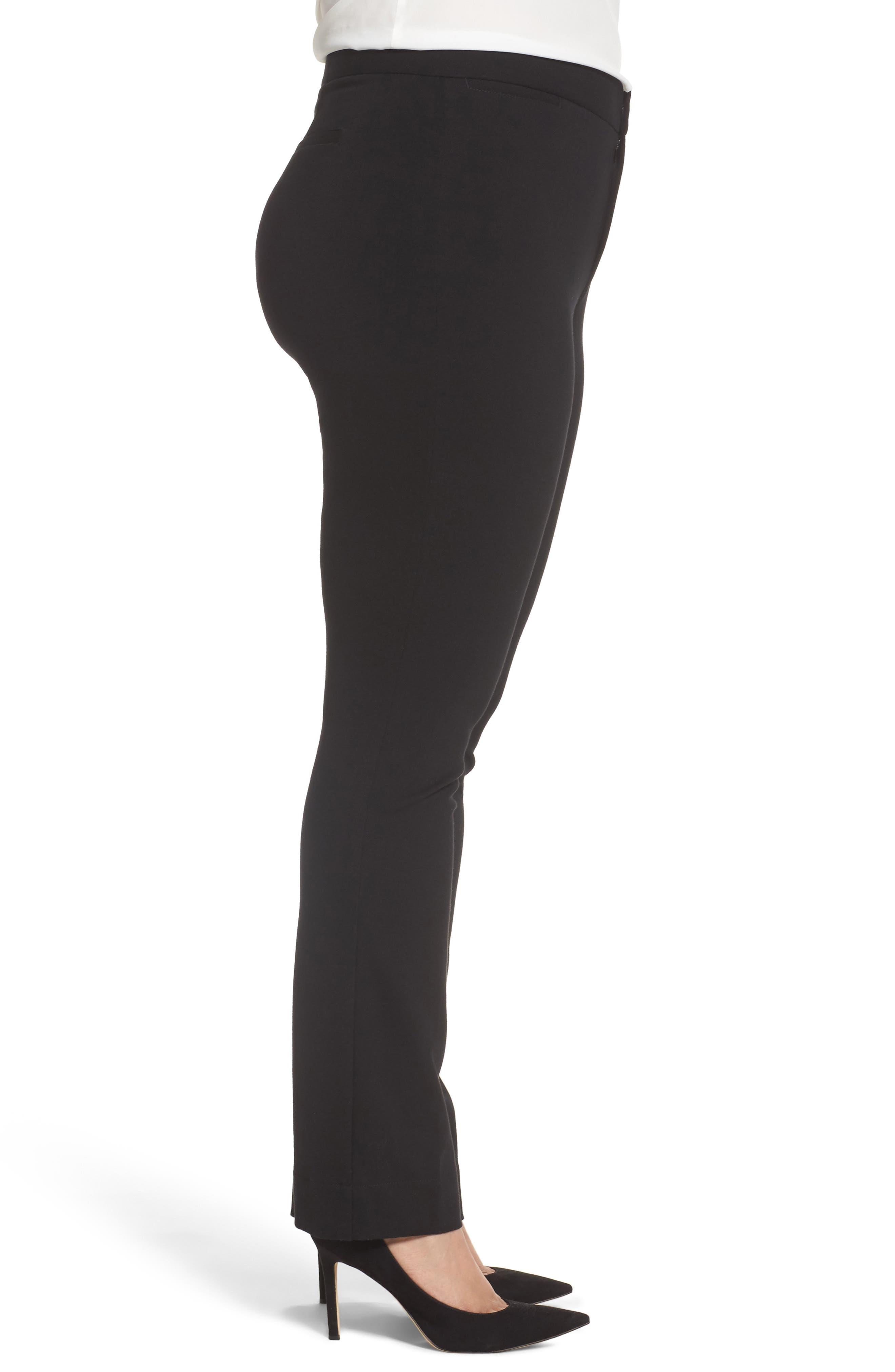 Stretch Knit Straight Leg Trousers,                             Alternate thumbnail 3, color,                             BLACK