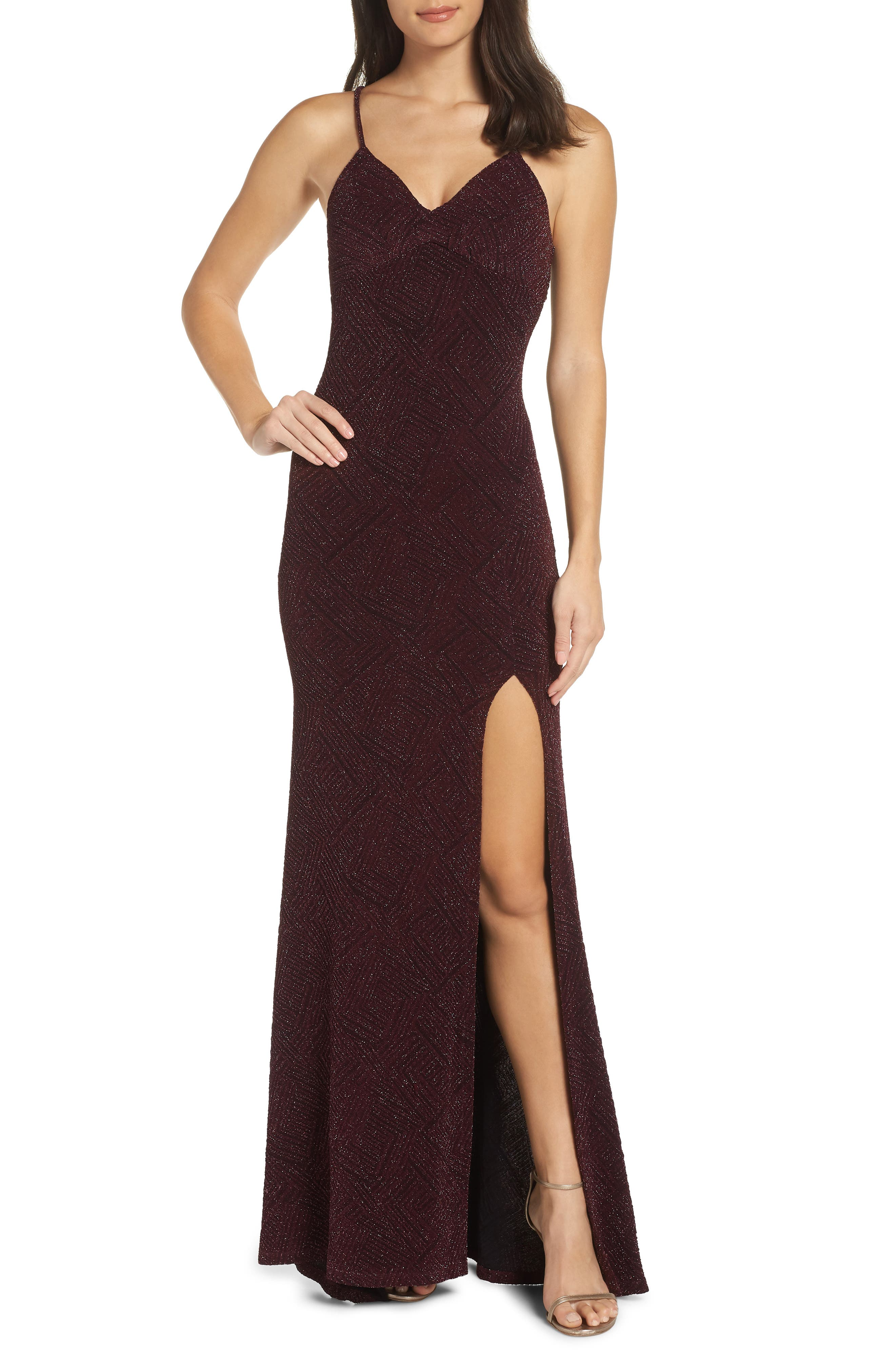 Sequin Hearts Metallic Knit Gown