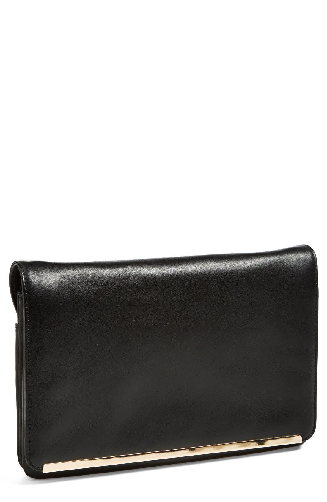 Leather Foldover Crossbody Clutch,                             Main thumbnail 1, color,                             001