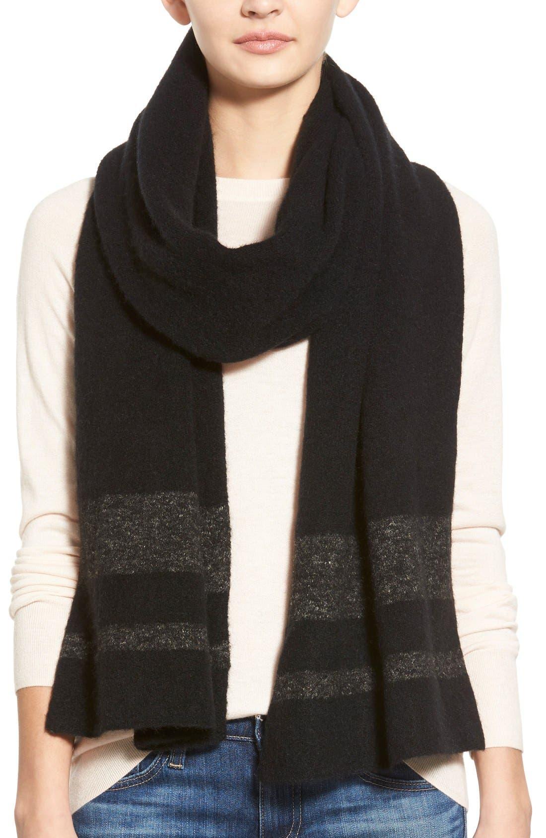 Stripe Wool Blend Scarf,                             Main thumbnail 1, color,                             001