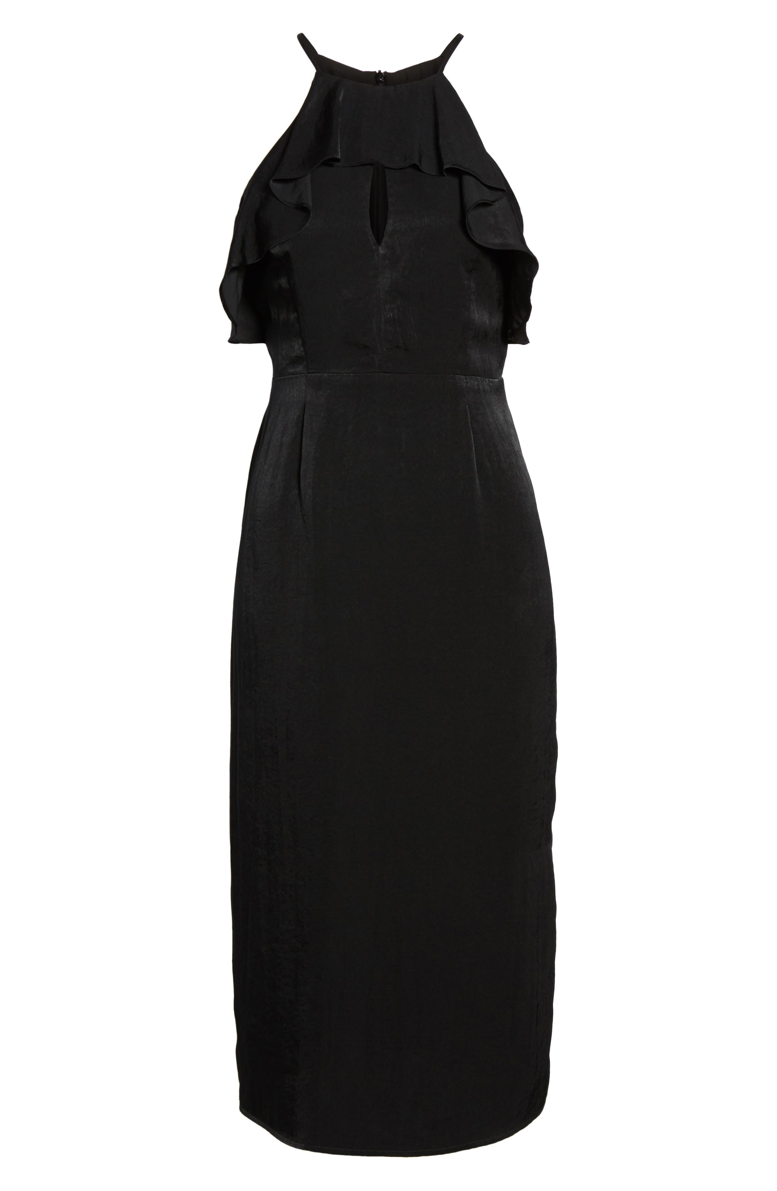 Ruffle Neck Satin Midi Dress,                             Alternate thumbnail 6, color,                             001