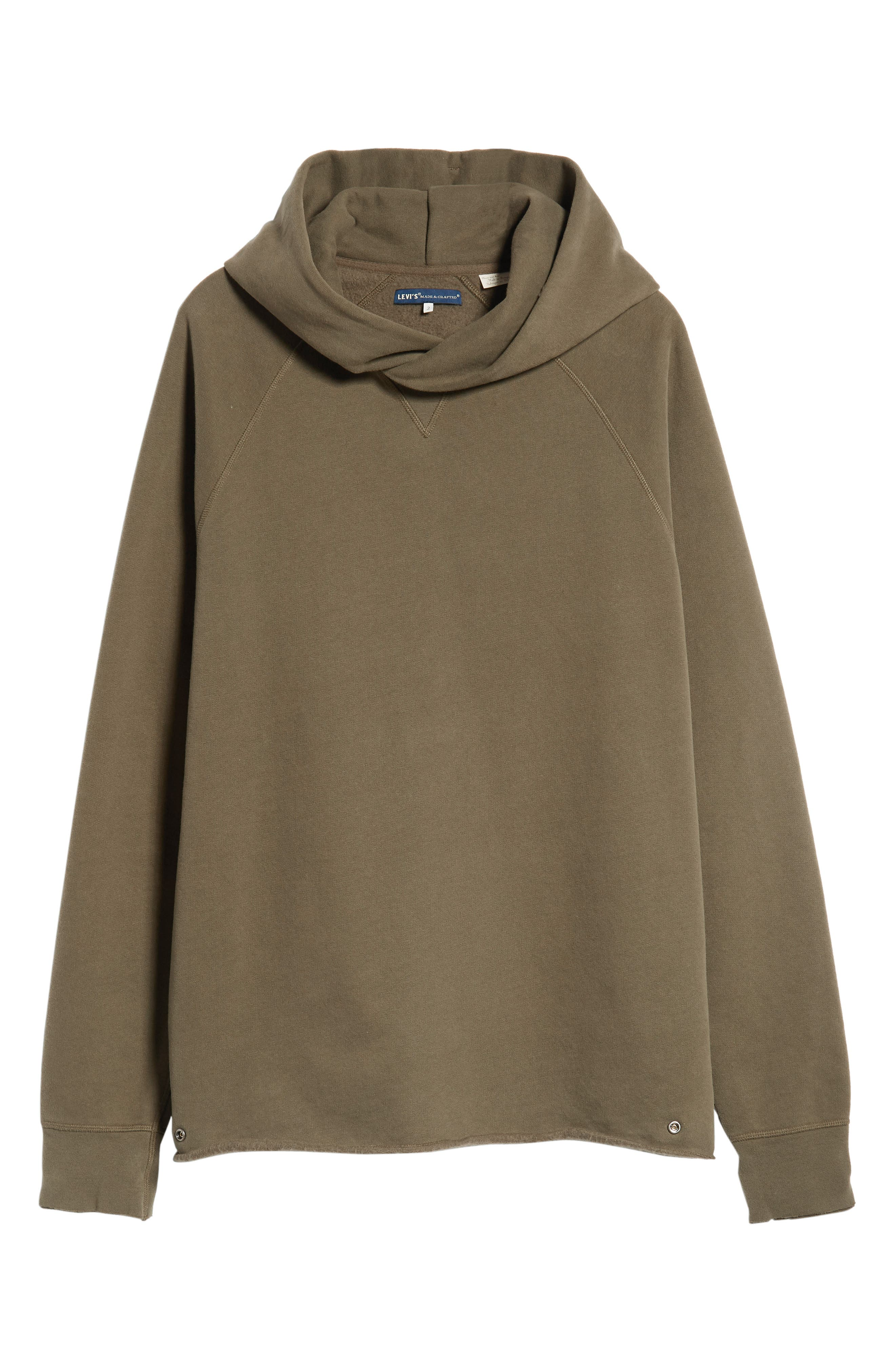 Unhemmed Regular Fit Hoodie,                             Alternate thumbnail 6, color,                             ARMY GREEN