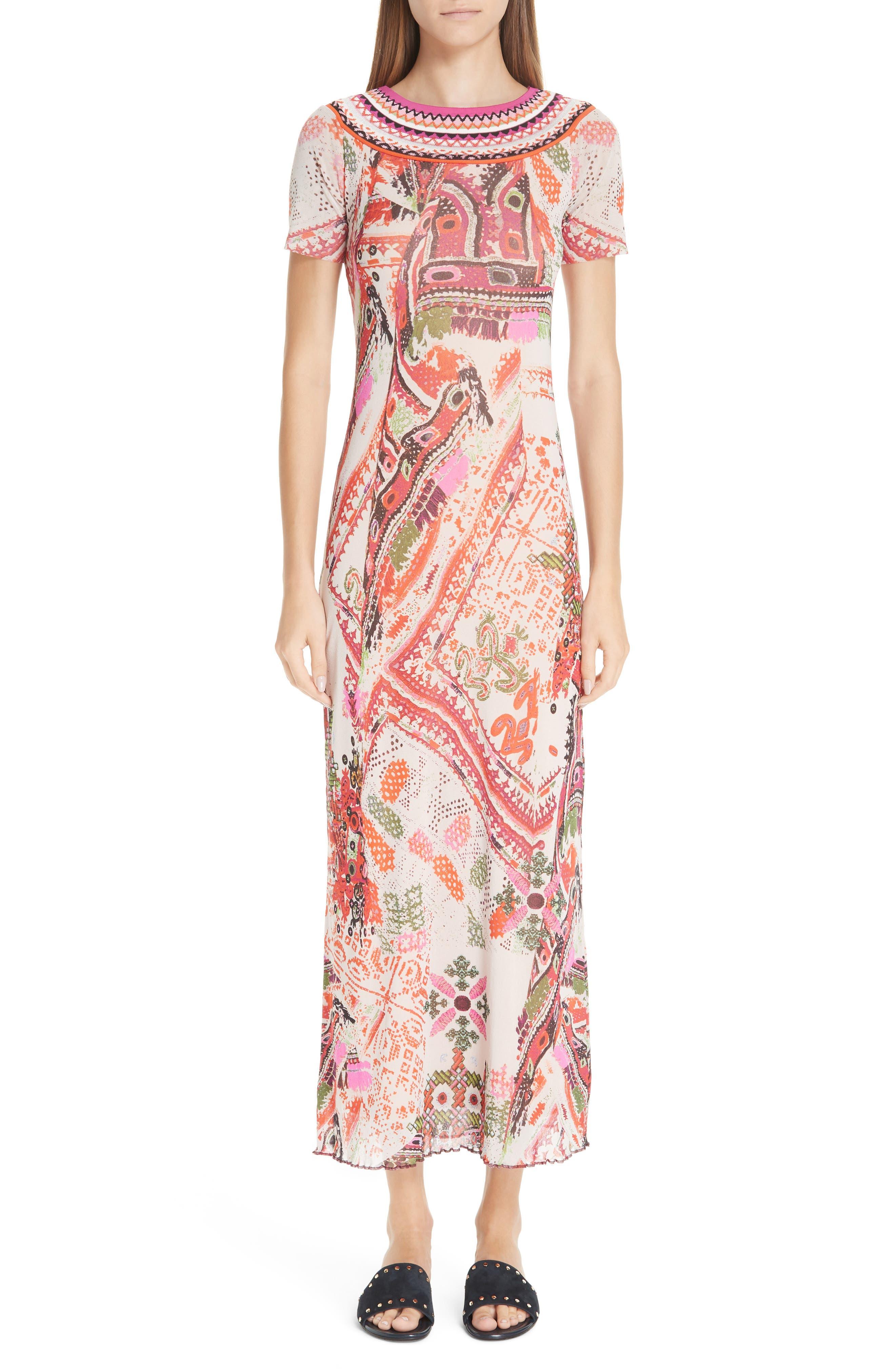 Fuzzi Knit Trim Print Tulle Maxi Dress, White