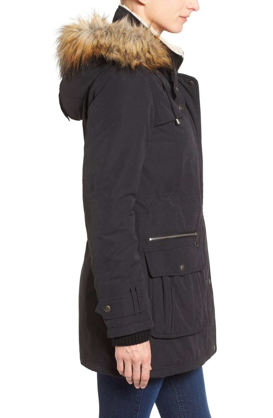 Hooded Anorak with Faux Fur Trim,                             Alternate thumbnail 8, color,