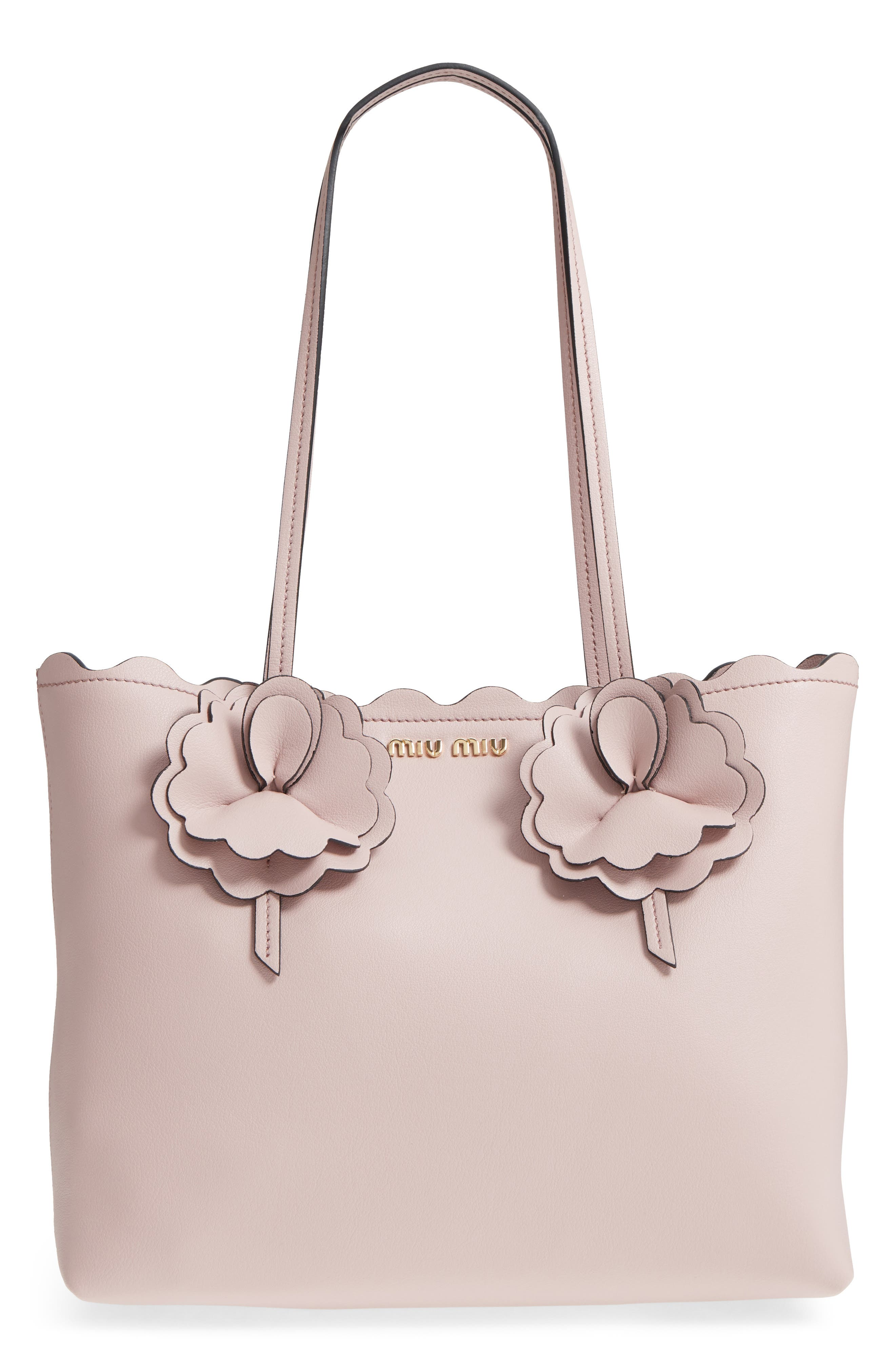 Flower Embellished Grainy Calfskin Tote,                             Main thumbnail 2, color,