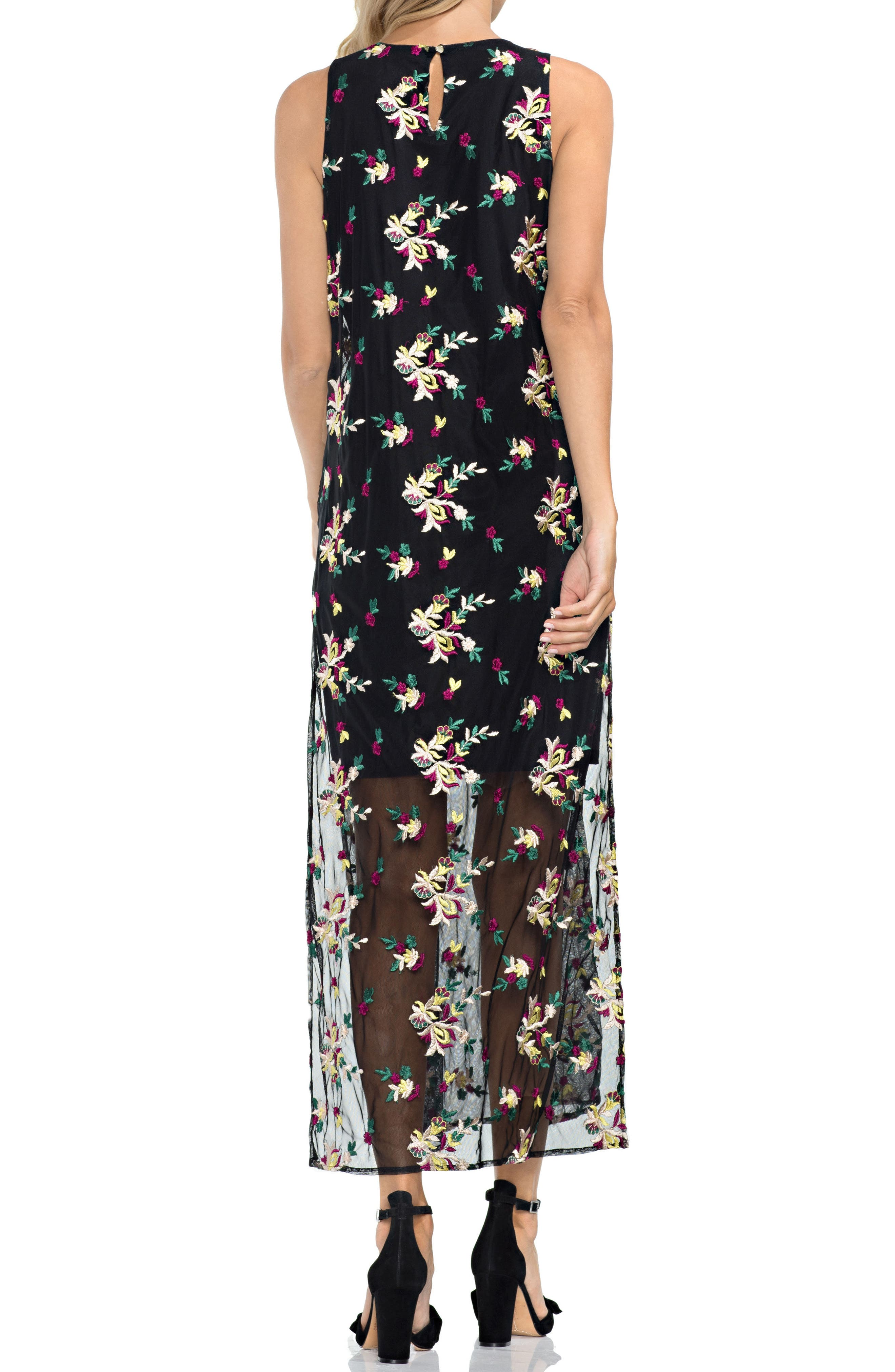 Tropical Embroidered Mesh Overlay Dress,                             Alternate thumbnail 2, color,                             001