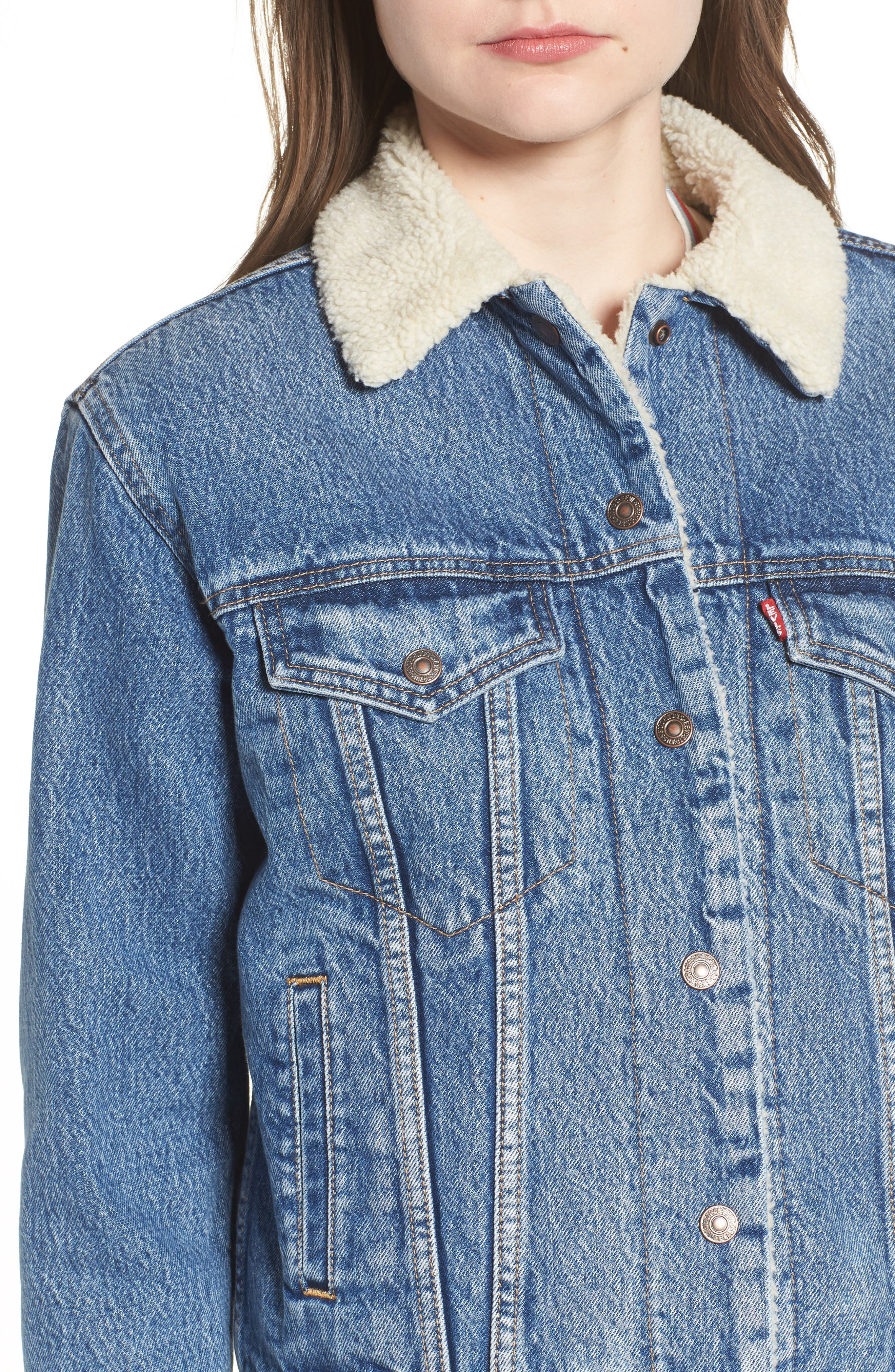 Ex-Boyfriend Fleece Lined Denim Jacket,                             Alternate thumbnail 4, color,                             ADDICTED TO LOVE
