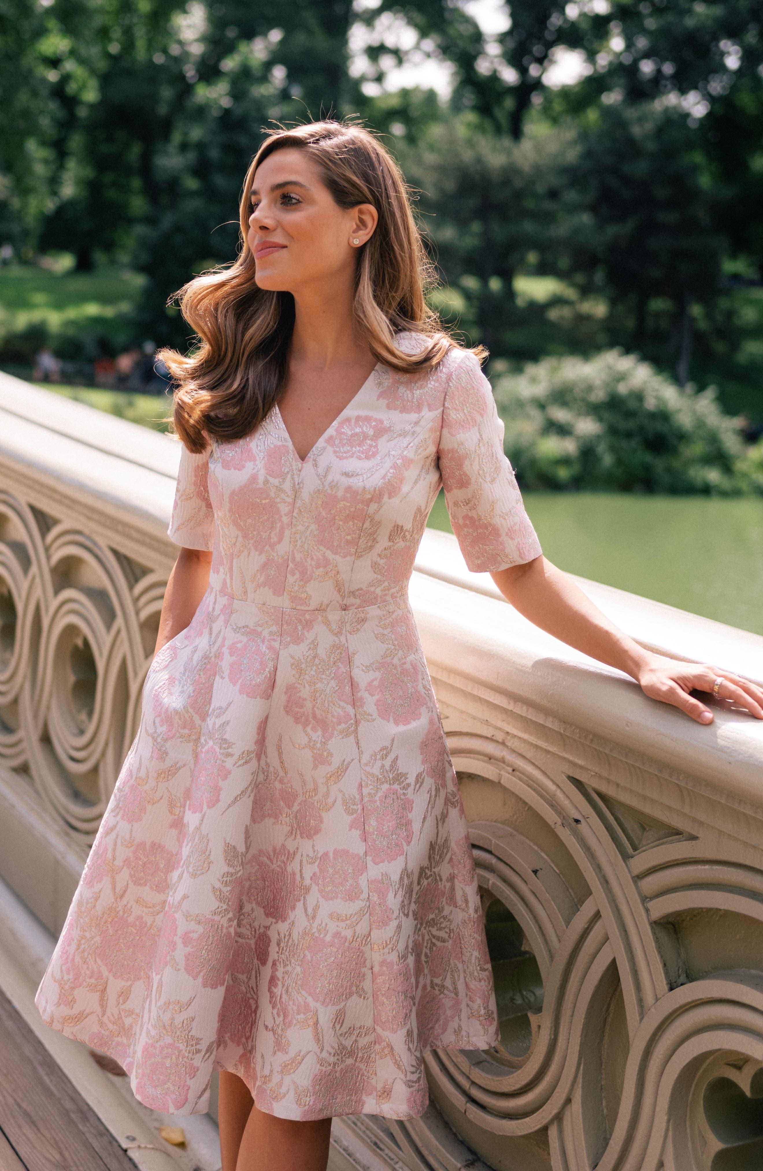 Adair Pink Passion Rose Jacquard Fit & Flare Dress,                             Alternate thumbnail 9, color,                             PINK PEARL