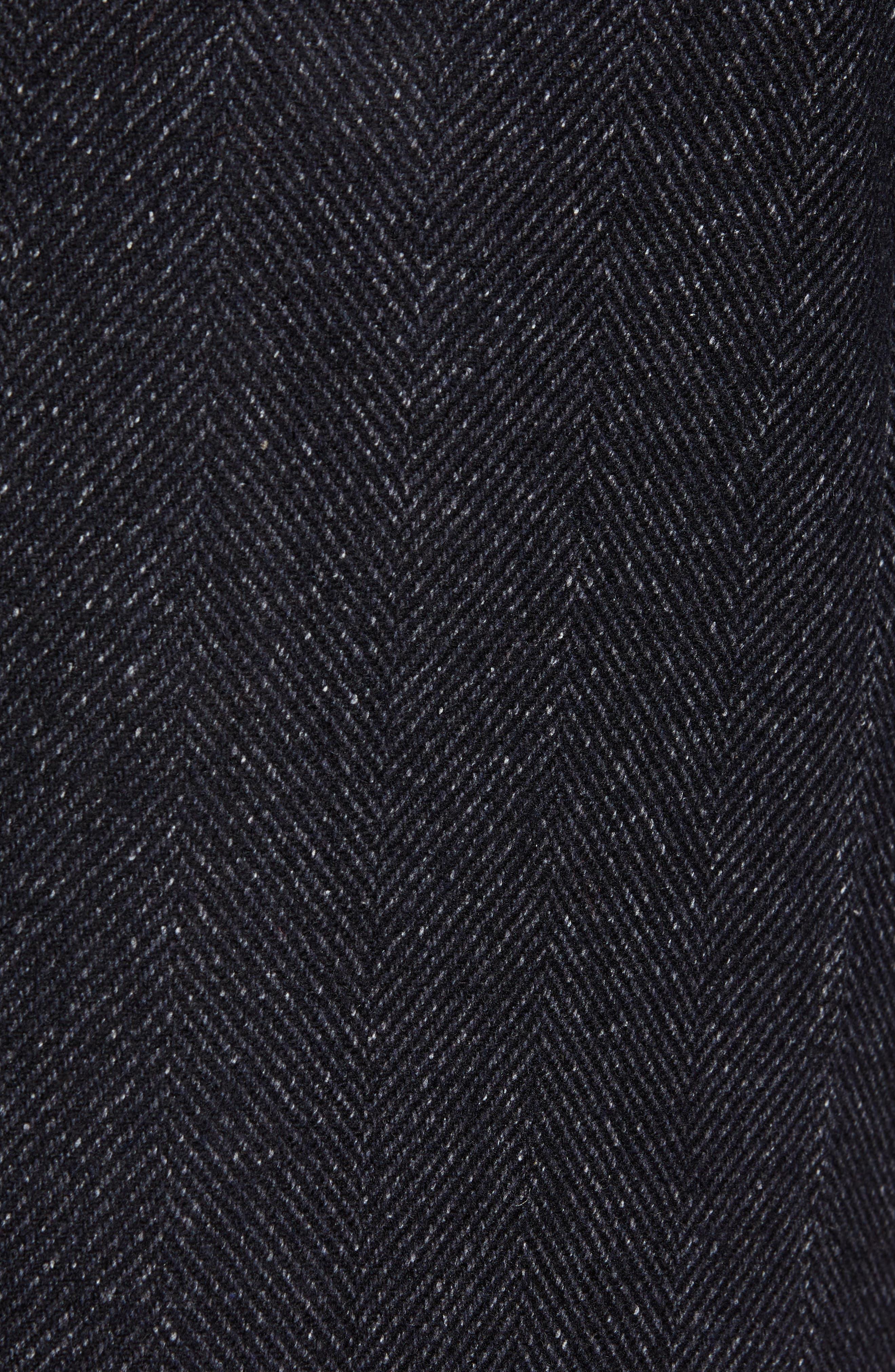 Herringbone Wool Blend Overcoat,                             Alternate thumbnail 6, color,                             NAVY