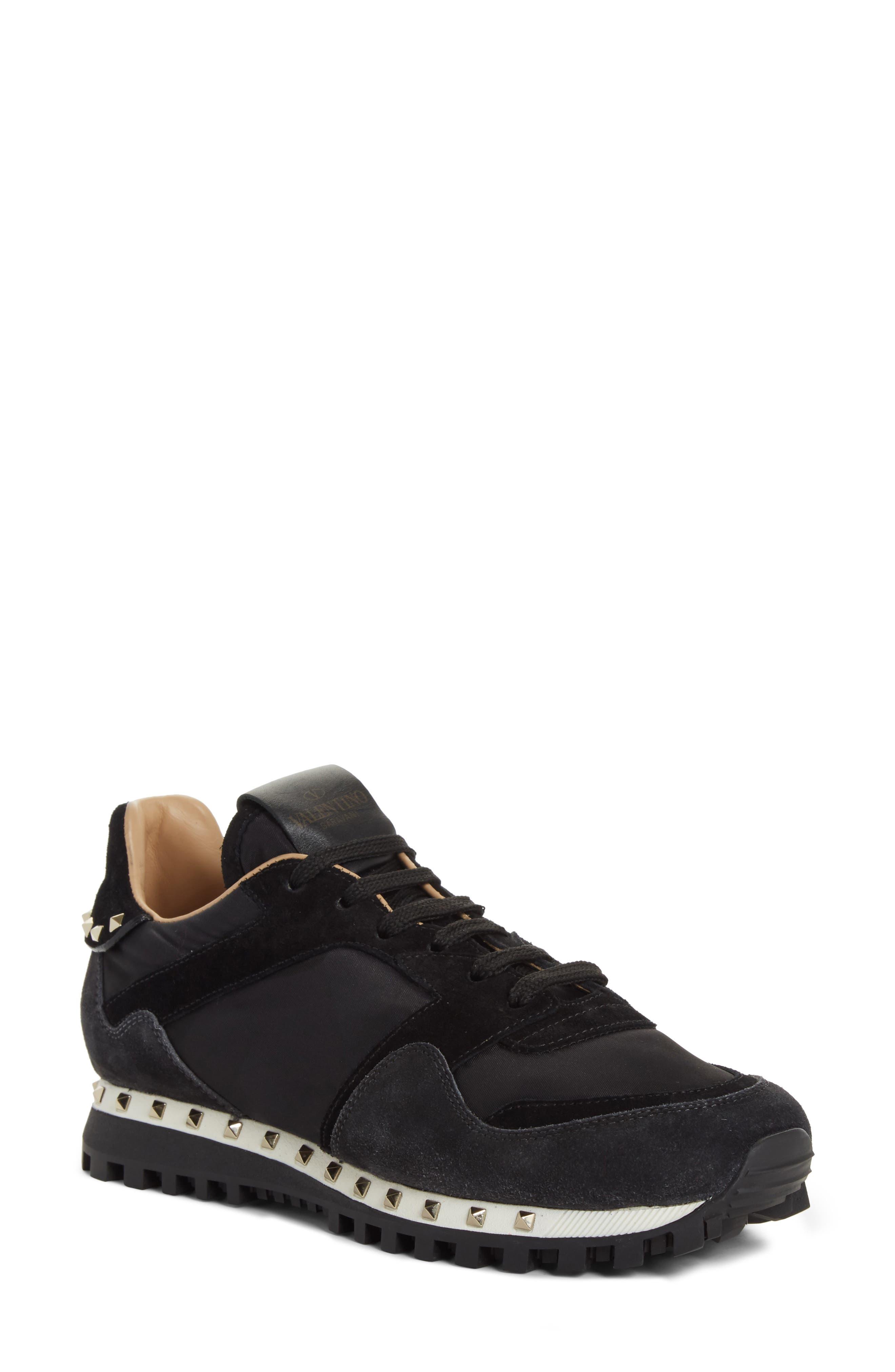 Rockstud Sneaker,                             Main thumbnail 1, color,                             BLACK/ GREY
