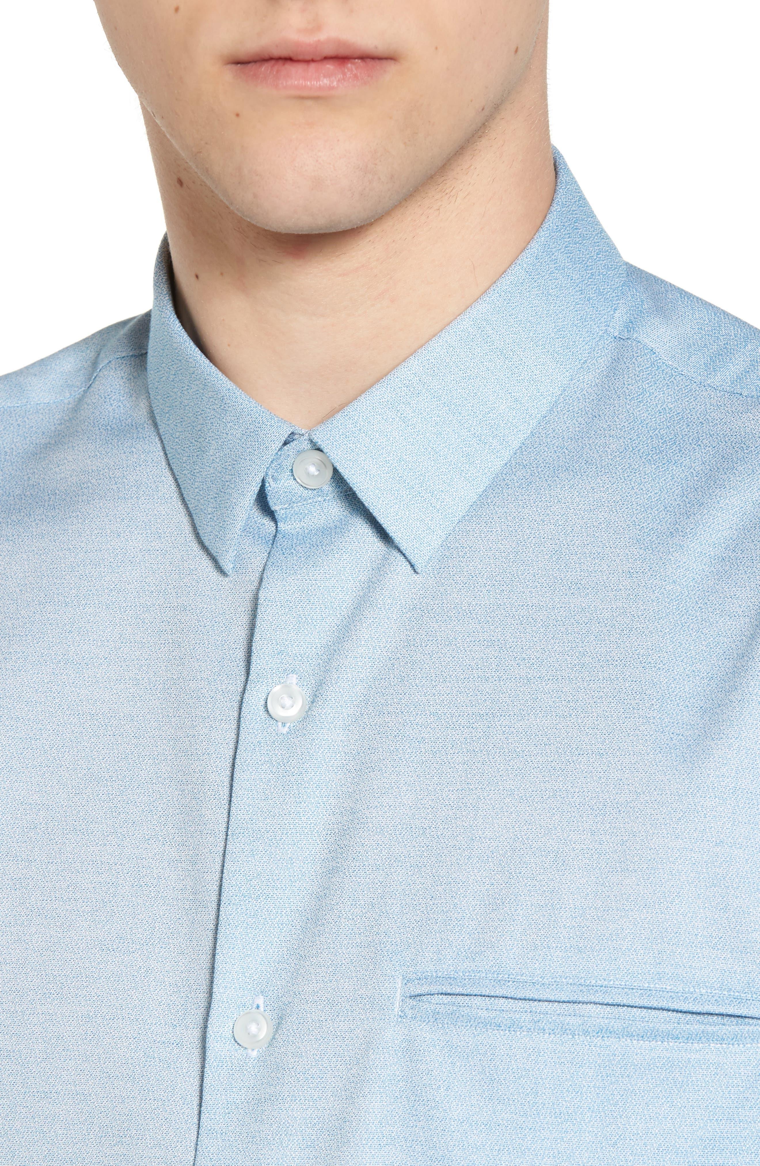 Trim Fit Jaspé Short Sleeve Sport Shirt,                             Alternate thumbnail 11, color,
