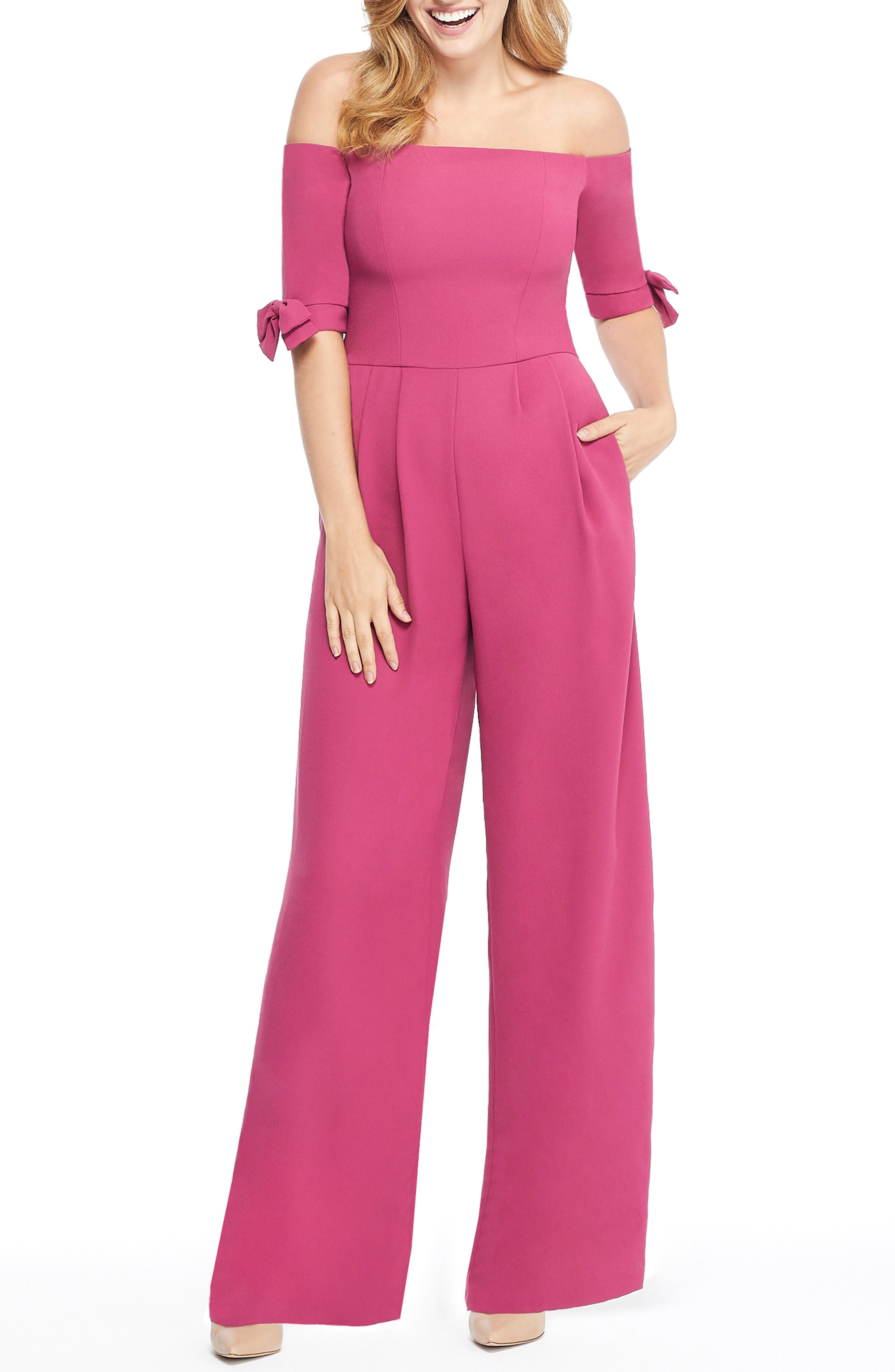Meredith Crepe Off the Shoulder Jumpsuit,                             Main thumbnail 1, color,                             DEEP MAGENTA