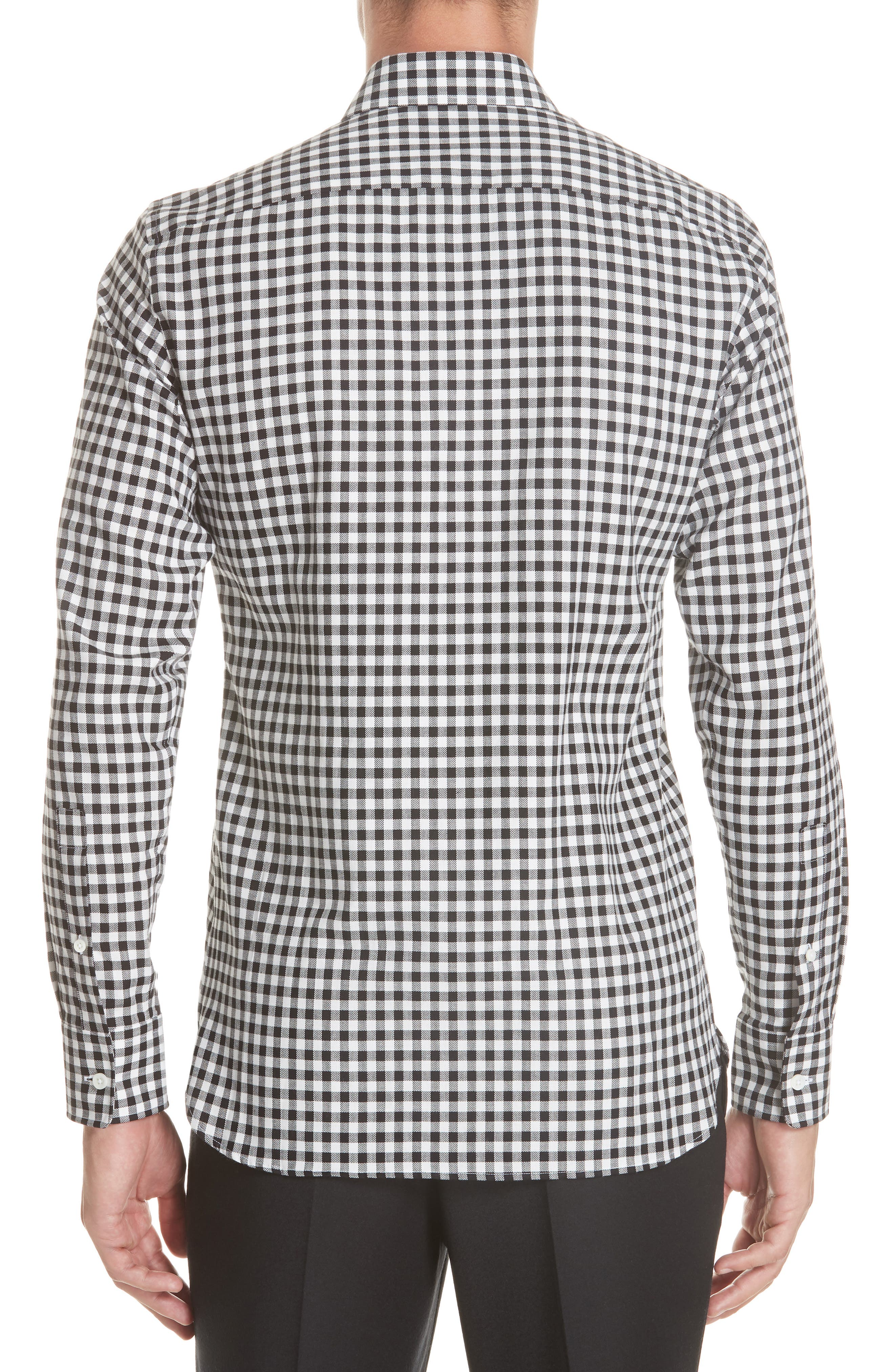 Trim Fit Check Dress Shirt,                             Alternate thumbnail 3, color,                             BLACK