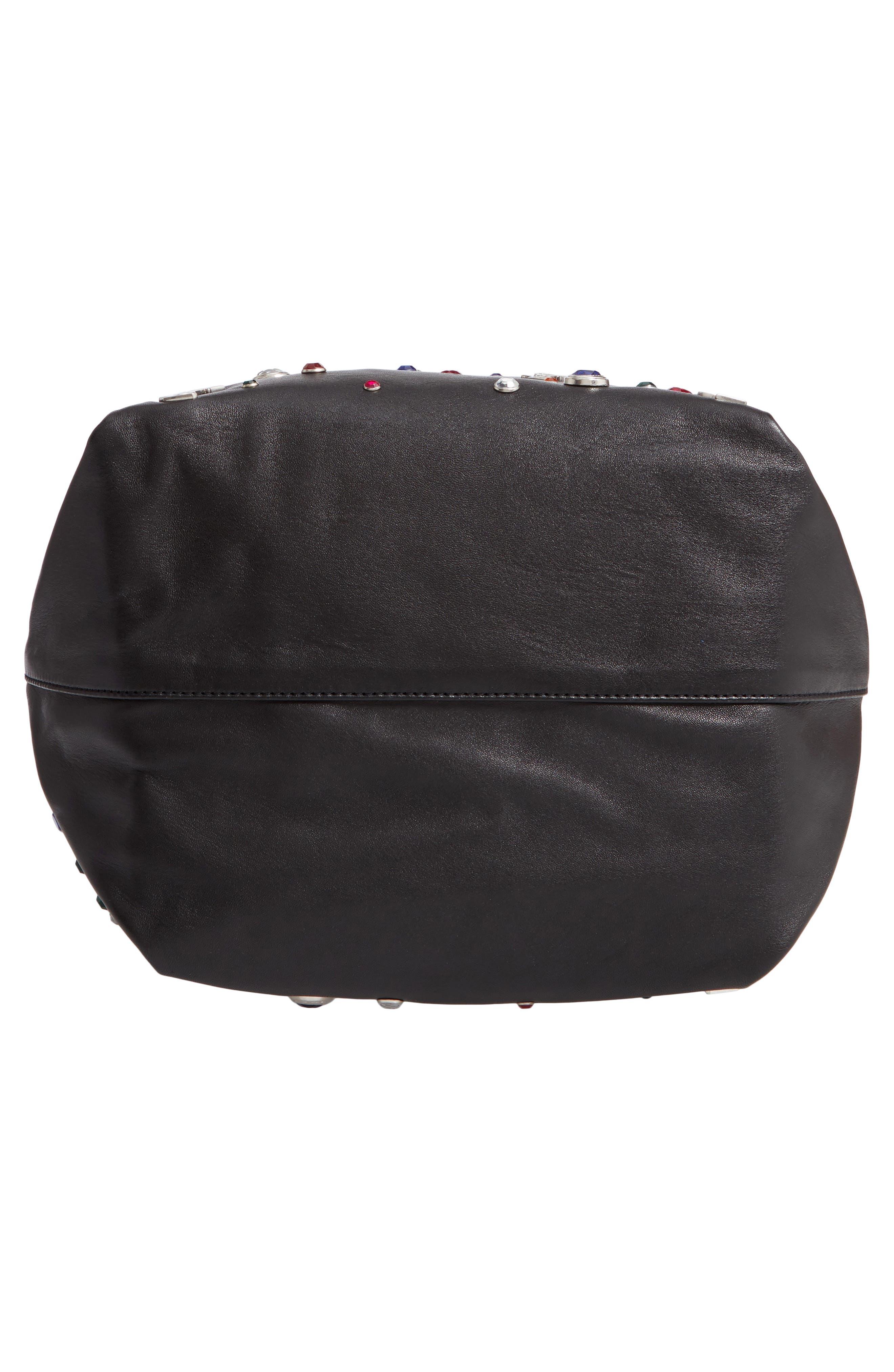 Teddy Studded Leather Bucket Bag,                             Alternate thumbnail 6, color,                             NOIR MULTI