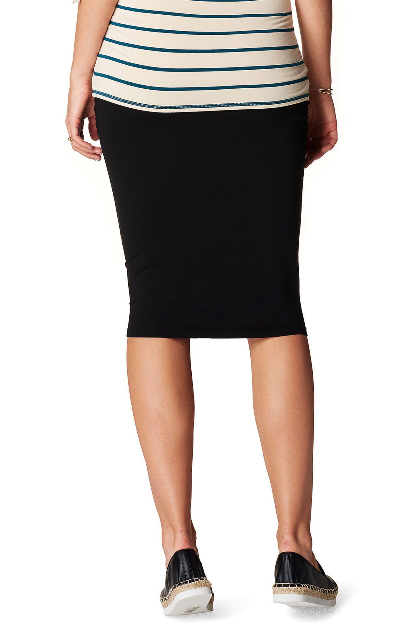 Vida Maternity Skirt,                             Alternate thumbnail 2, color,                             BLACK