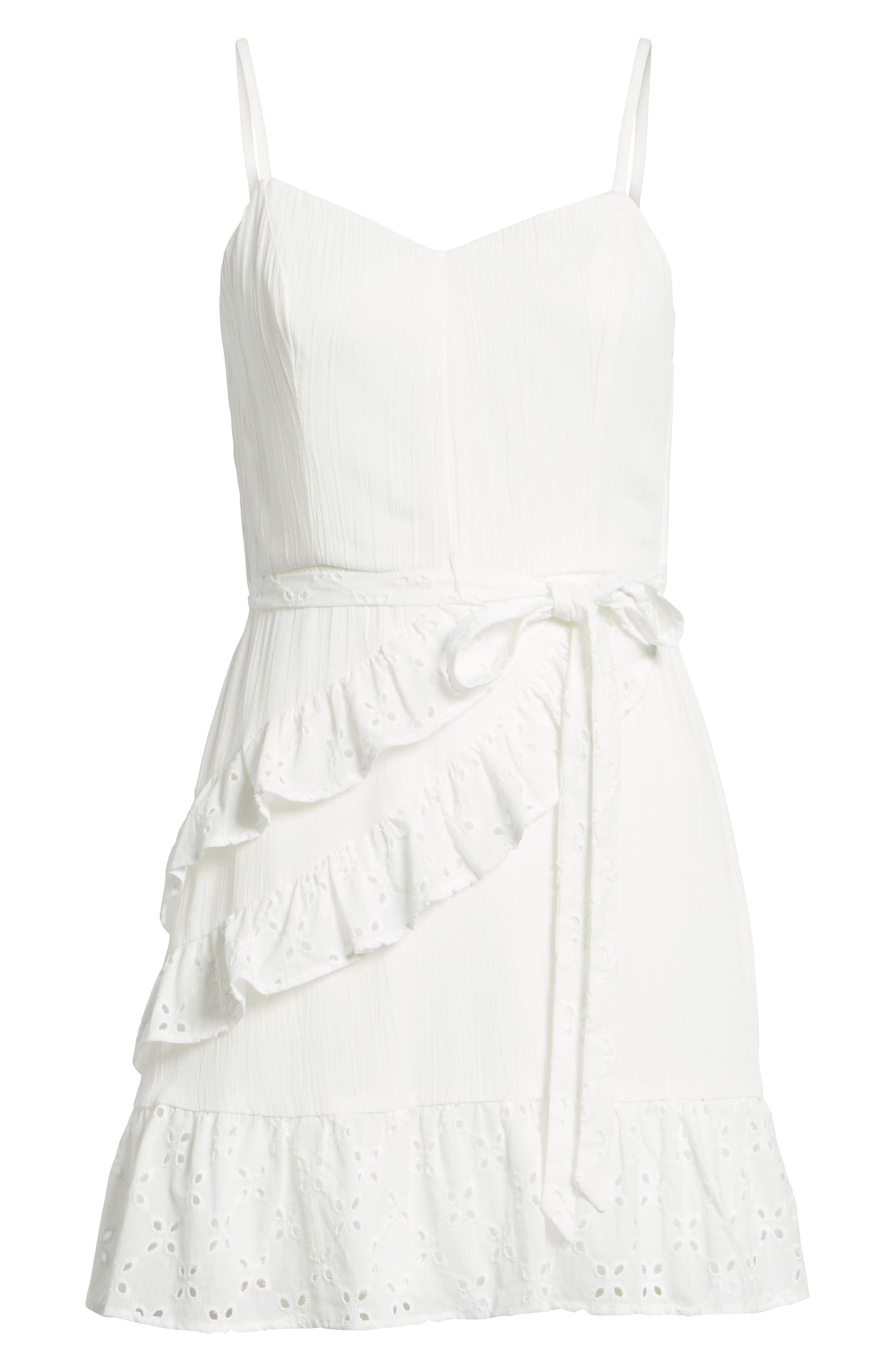 Ruffle Eyelet Minidress,                             Alternate thumbnail 6, color,                             100