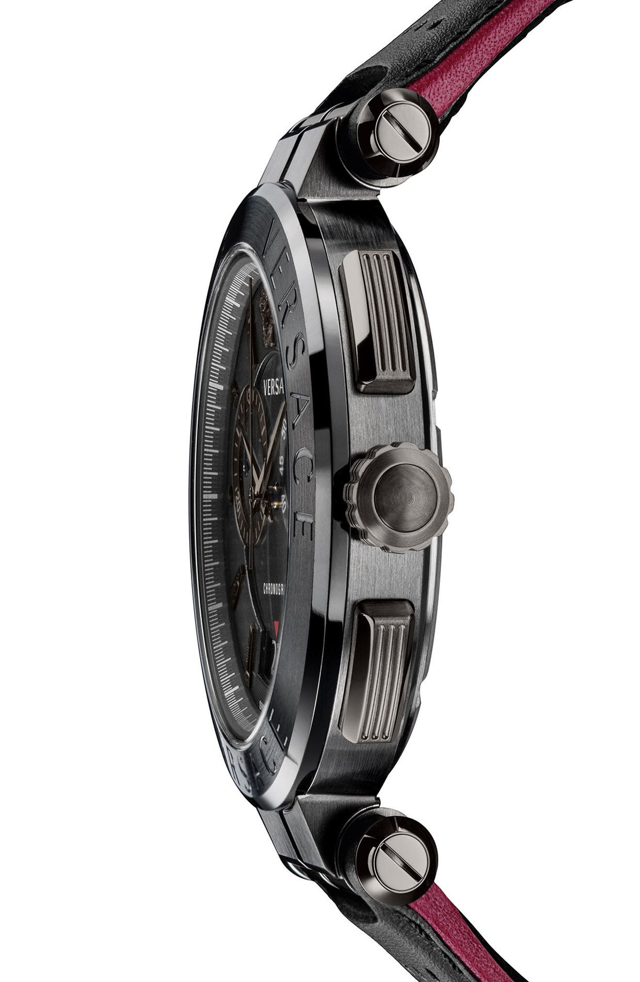 Aion Chronograph Leather Strap Watch, 45mm,                             Alternate thumbnail 3, color,                             BLACK