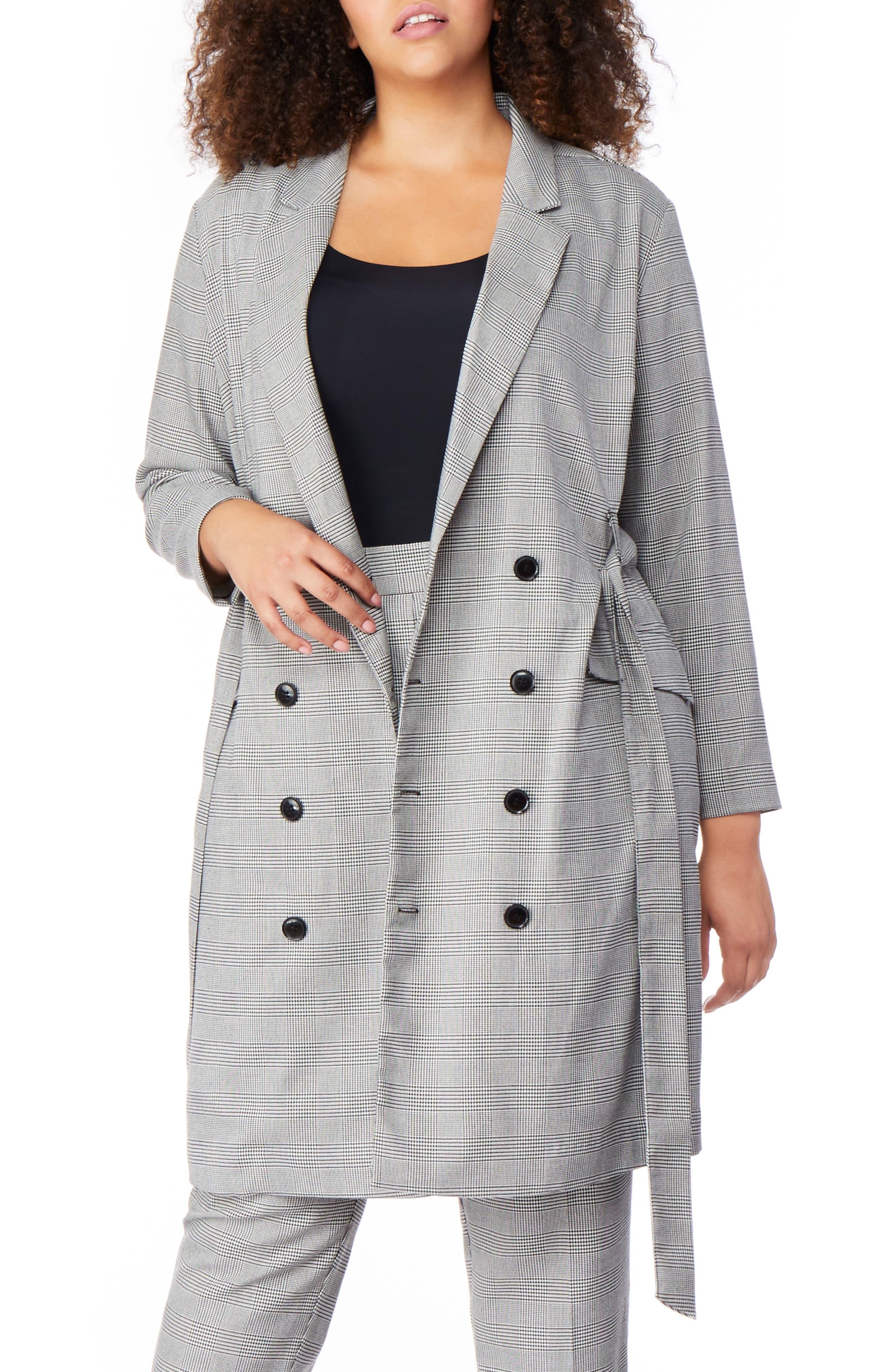 plus size women's rebel wilson x angels plaid belted blazer dress, size 18w - grey