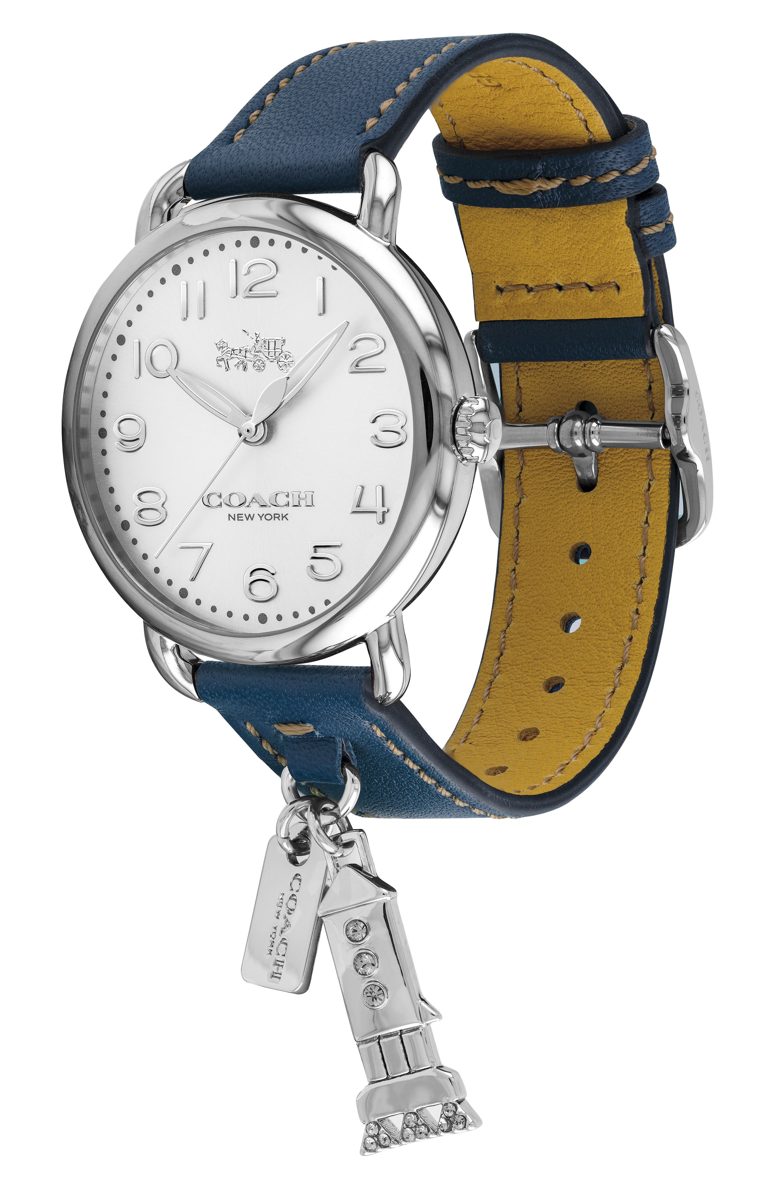 Delancey Charm Detail Leather Strap Watch, 36mm,                             Alternate thumbnail 3, color,                             BLUE/ SILVER