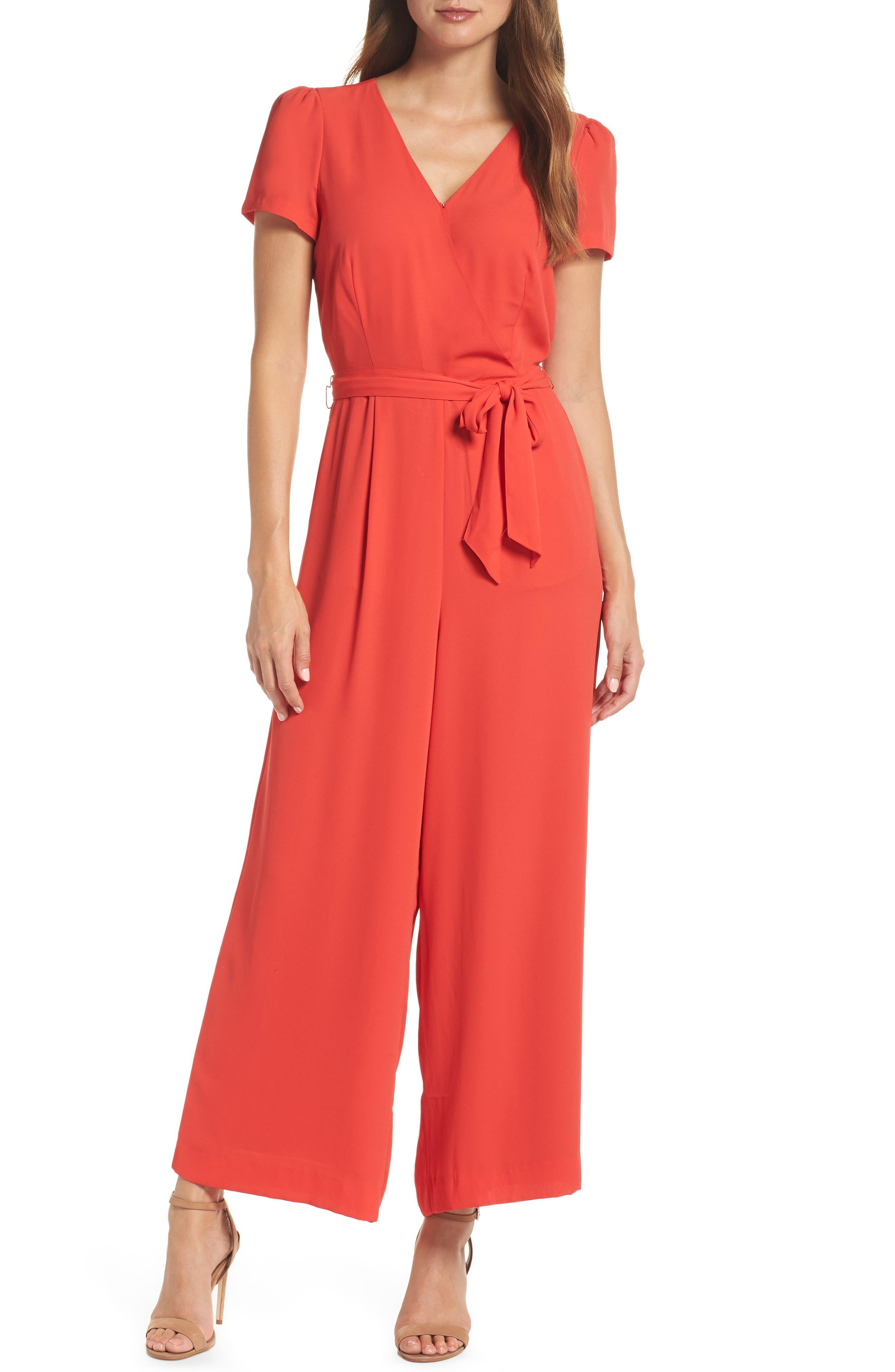 Short Sleeve Wrap Jumpsuit,                         Main,                         color, BRIGHT CERISE