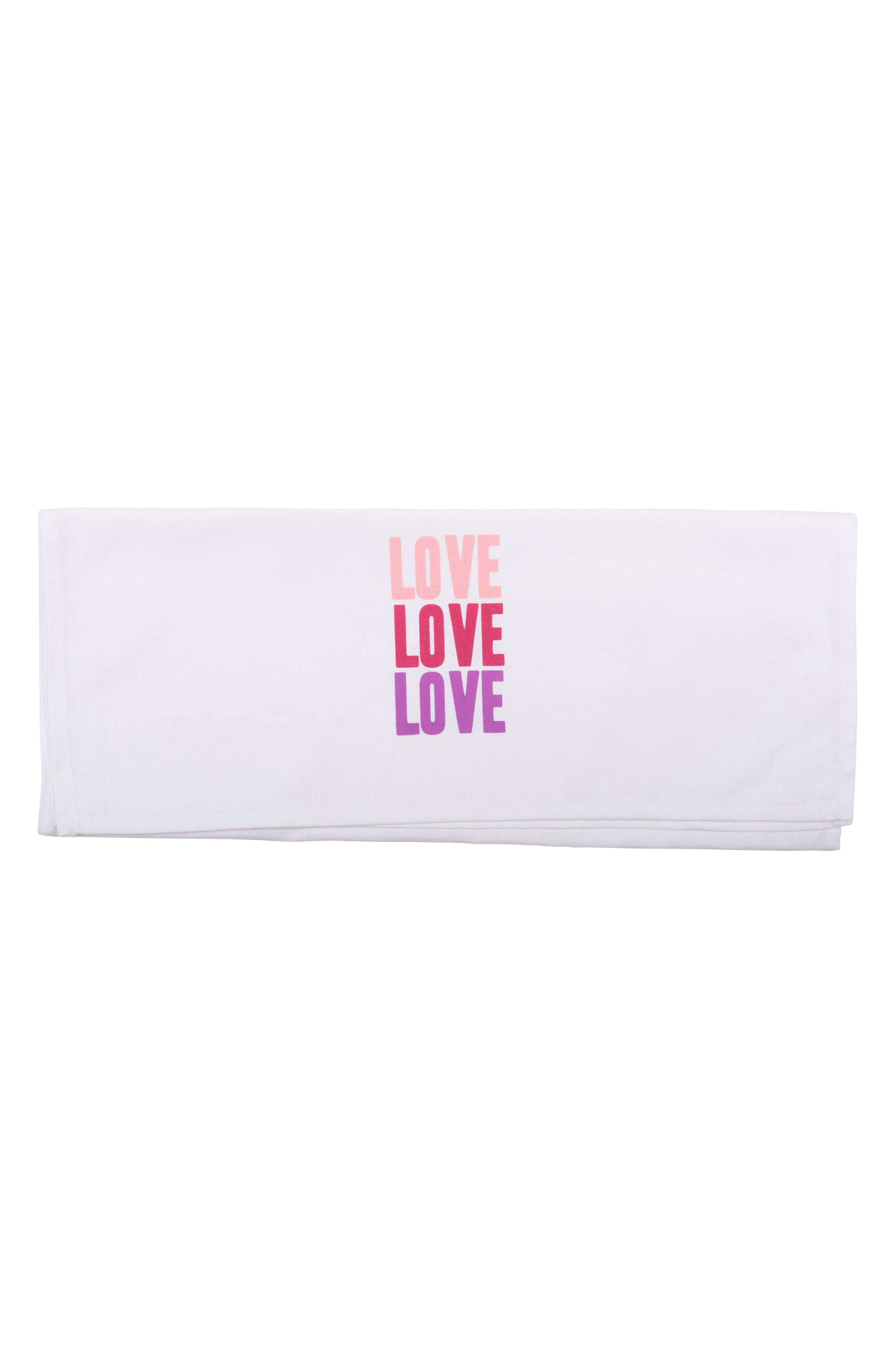 Peace Love Happiness Set of 3 Tea Towels,                             Alternate thumbnail 4, color,                             100