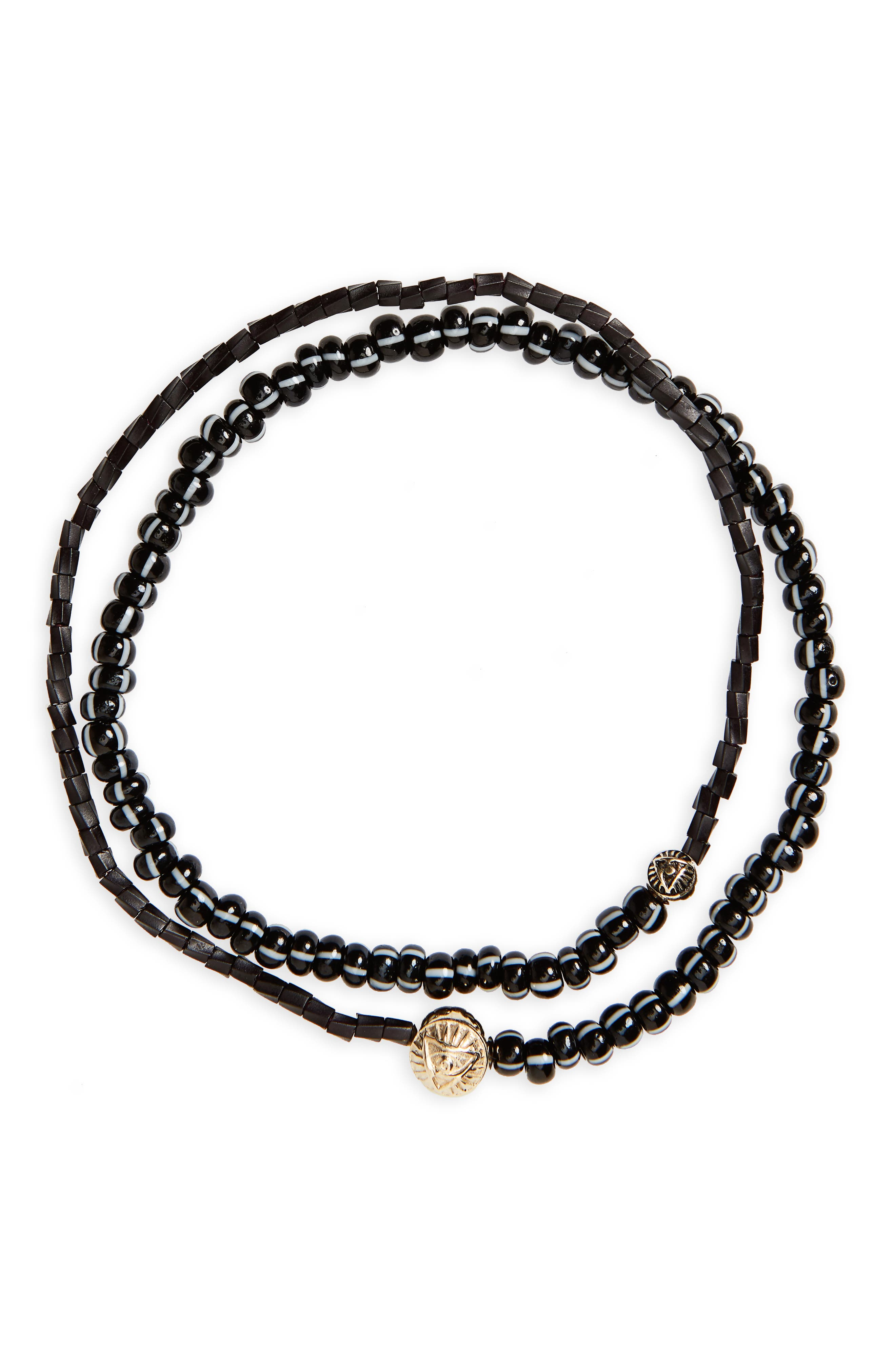 Gold Medallion Beaded Wrap Bracelet,                             Main thumbnail 1, color,