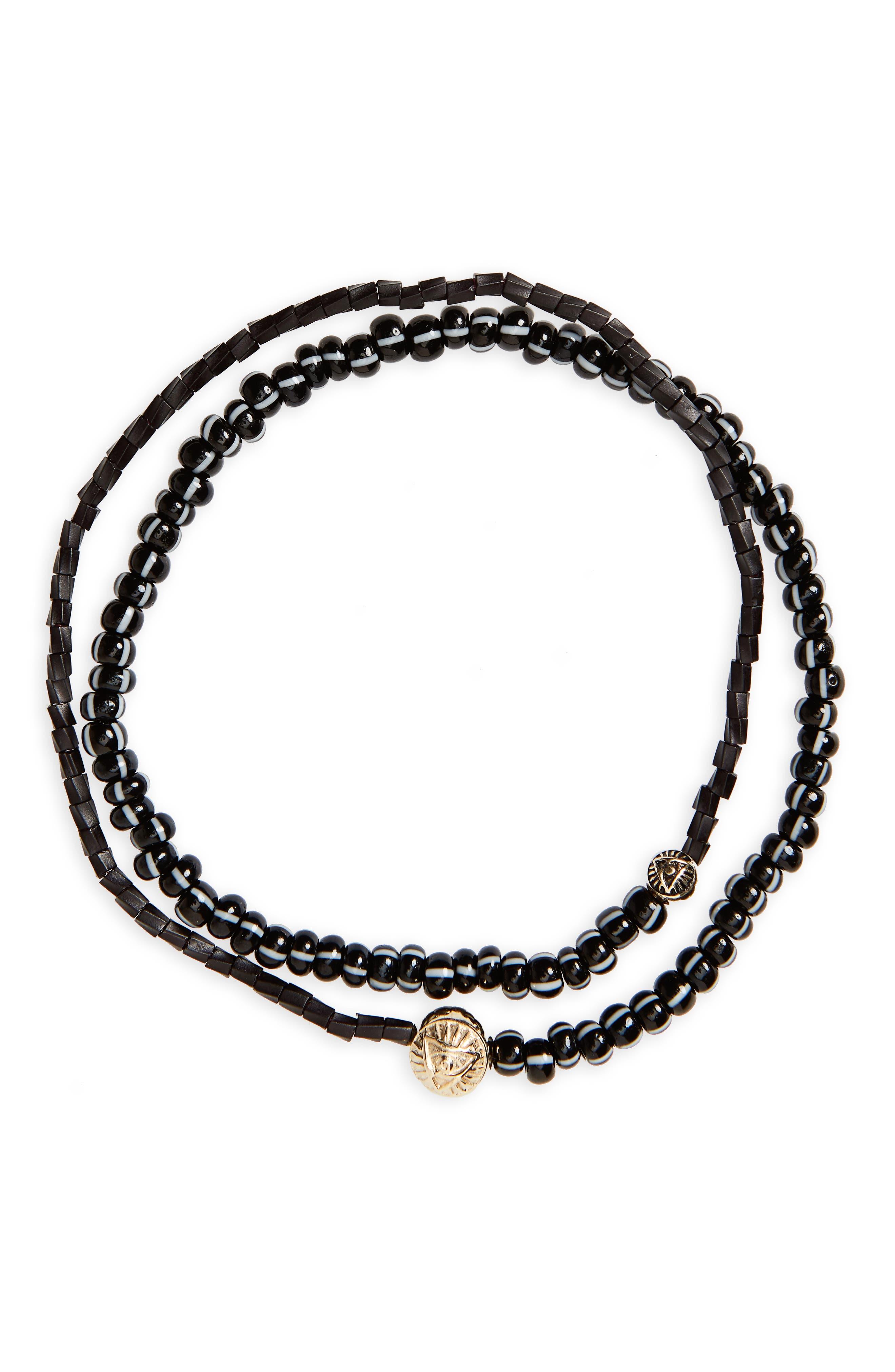 Gold Medallion Beaded Wrap Bracelet,                         Main,                         color,