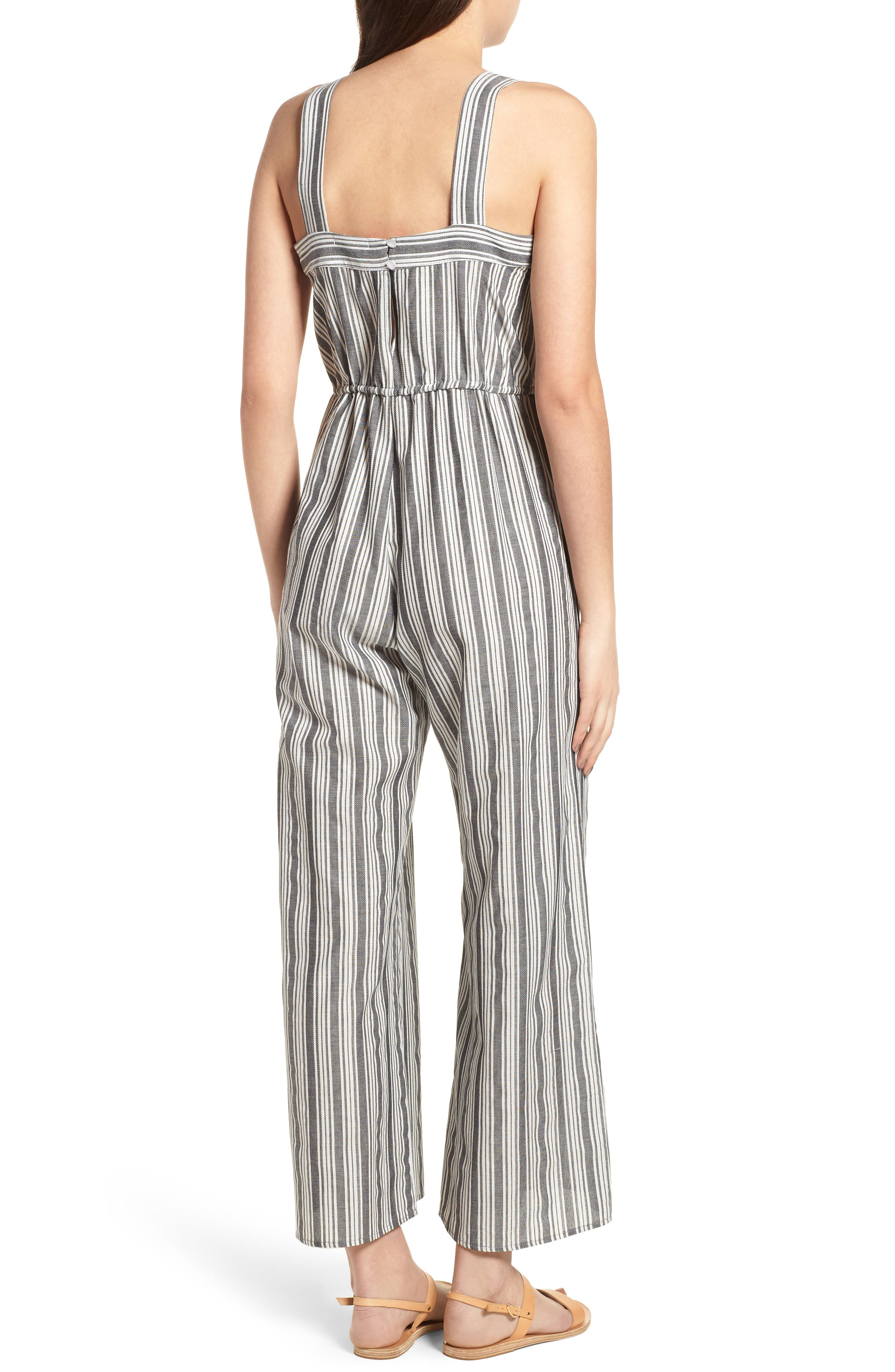 Stripe Knot Strap Jumpsuit,                             Alternate thumbnail 2, color,                             WHITE SUN STRIPE