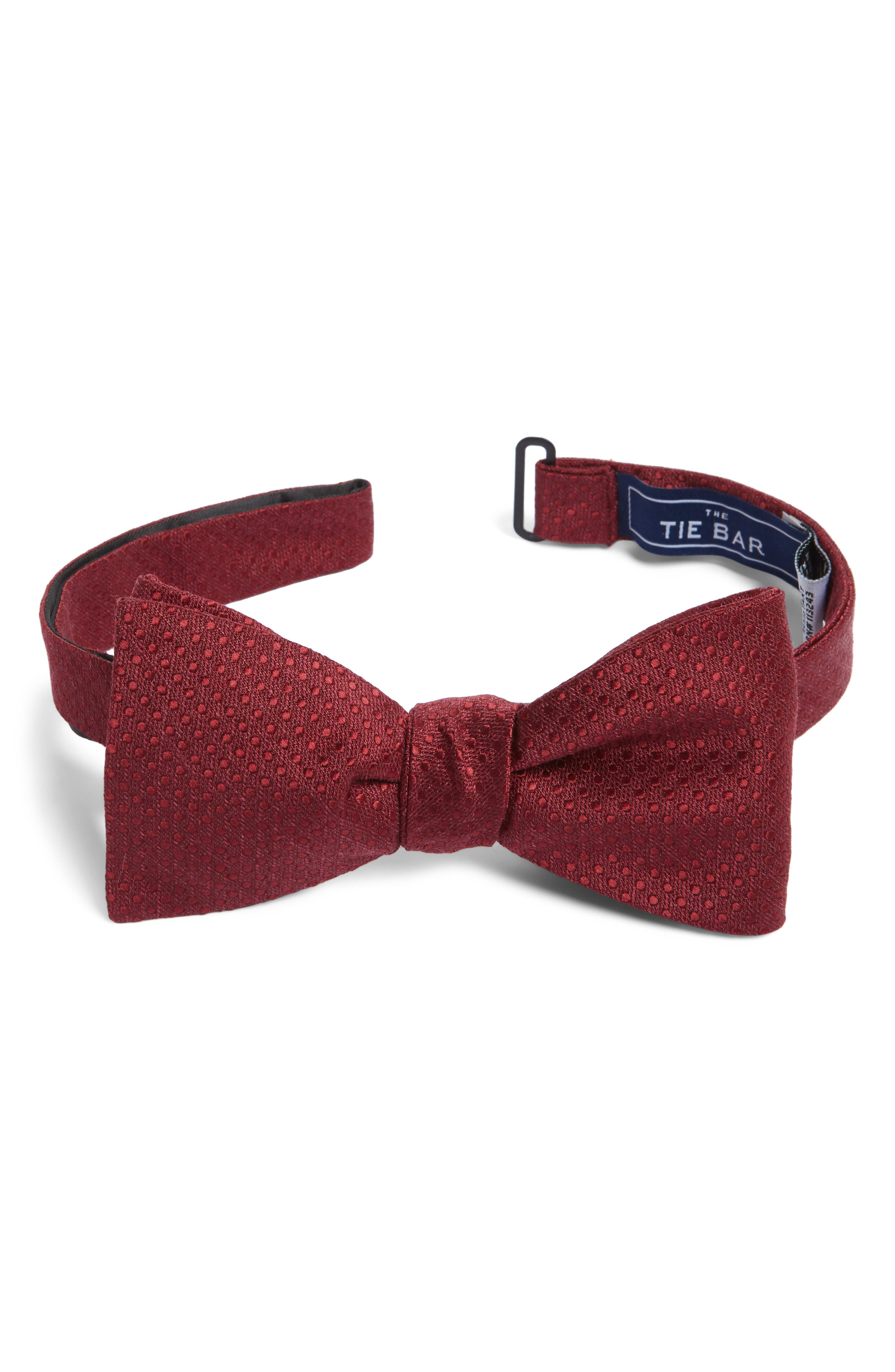 Dotted Spin Silk & Linen Bow Tie,                             Main thumbnail 4, color,