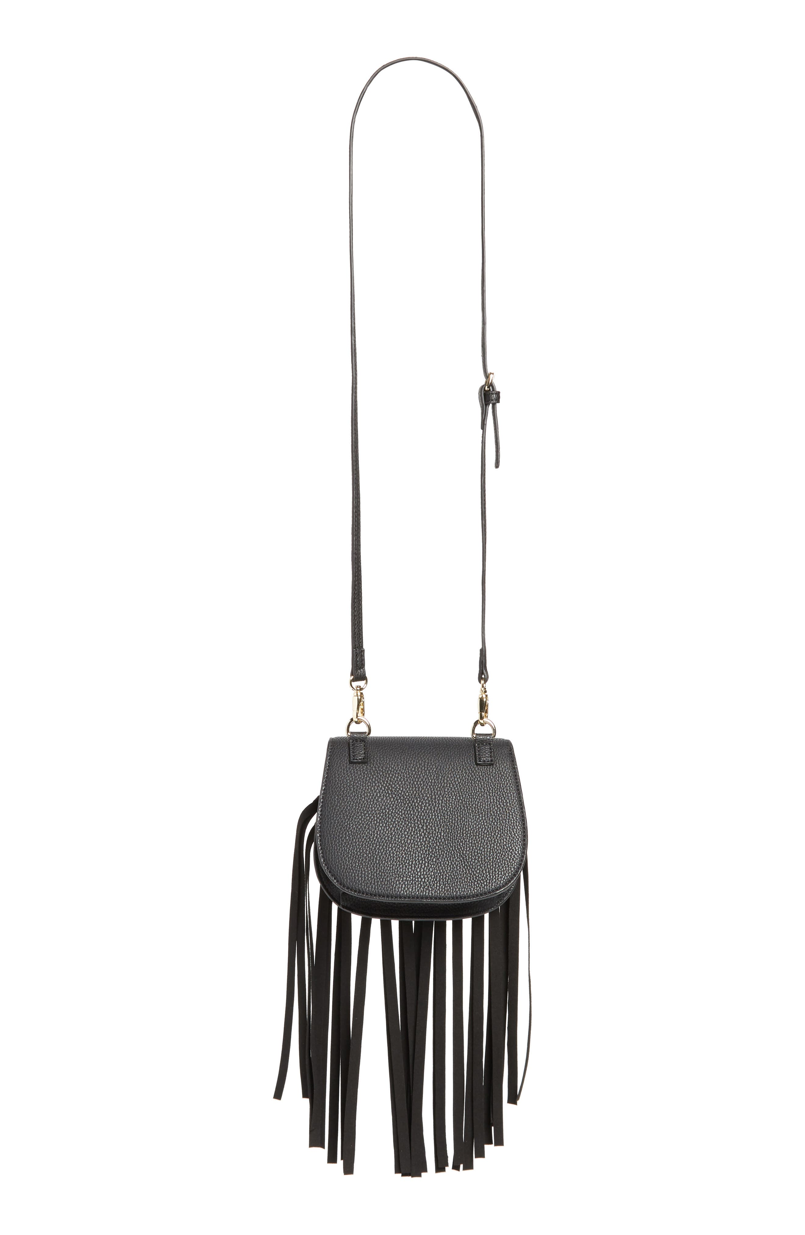 Mini Dylan Fringe Faux Leather Crossbody Bag,                             Alternate thumbnail 3, color,                             BLACK LEATHER