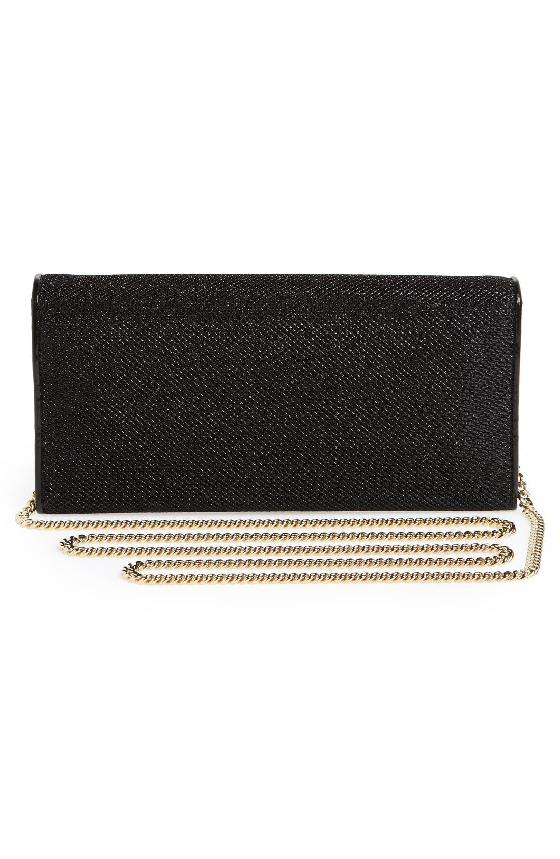 'Milla' Glitter Lamé Wallet on a Chain,                             Alternate thumbnail 5, color,                             001