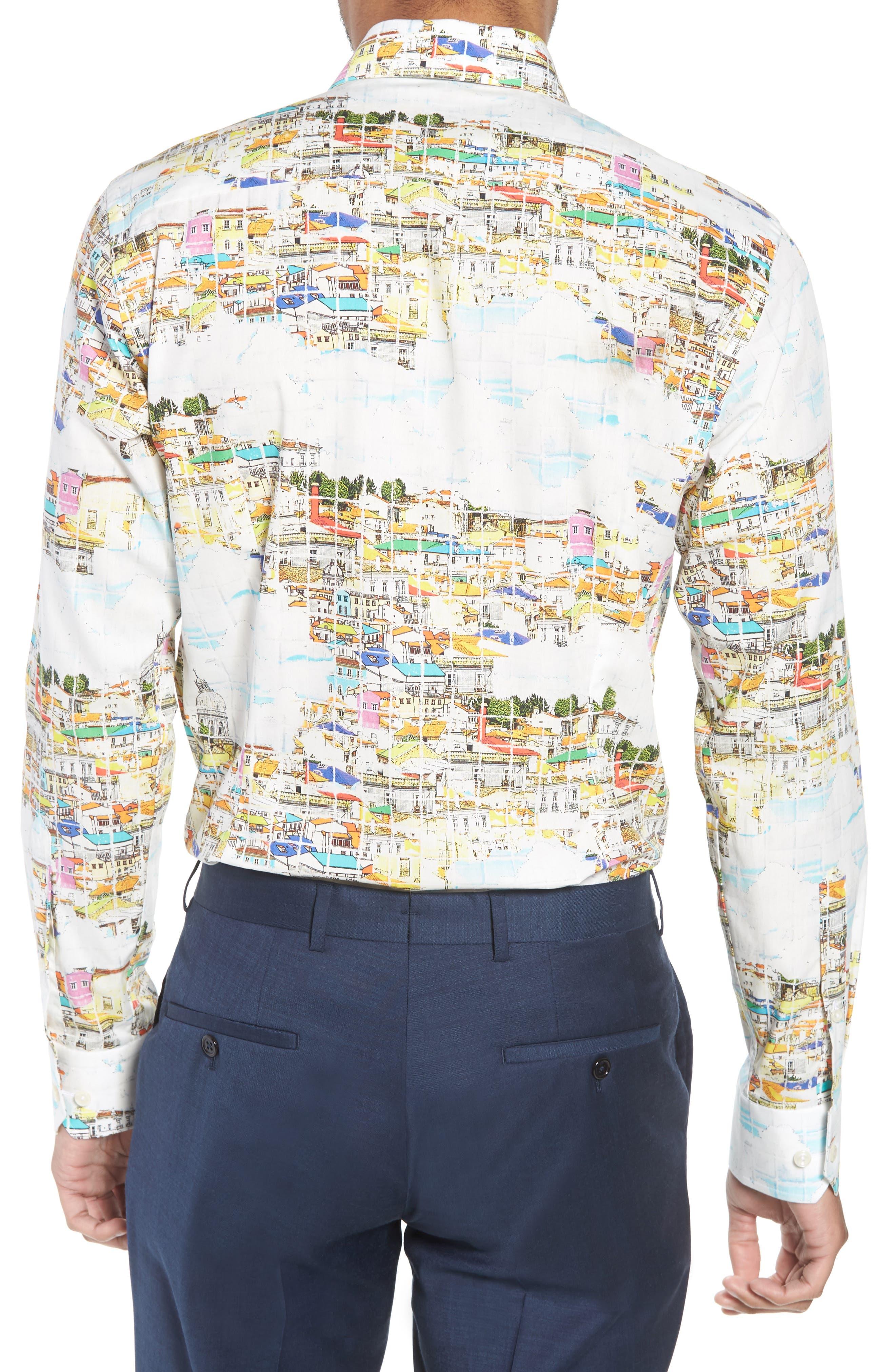 Slim Fit Print Dress Shirt,                             Alternate thumbnail 3, color,                             YELLOW