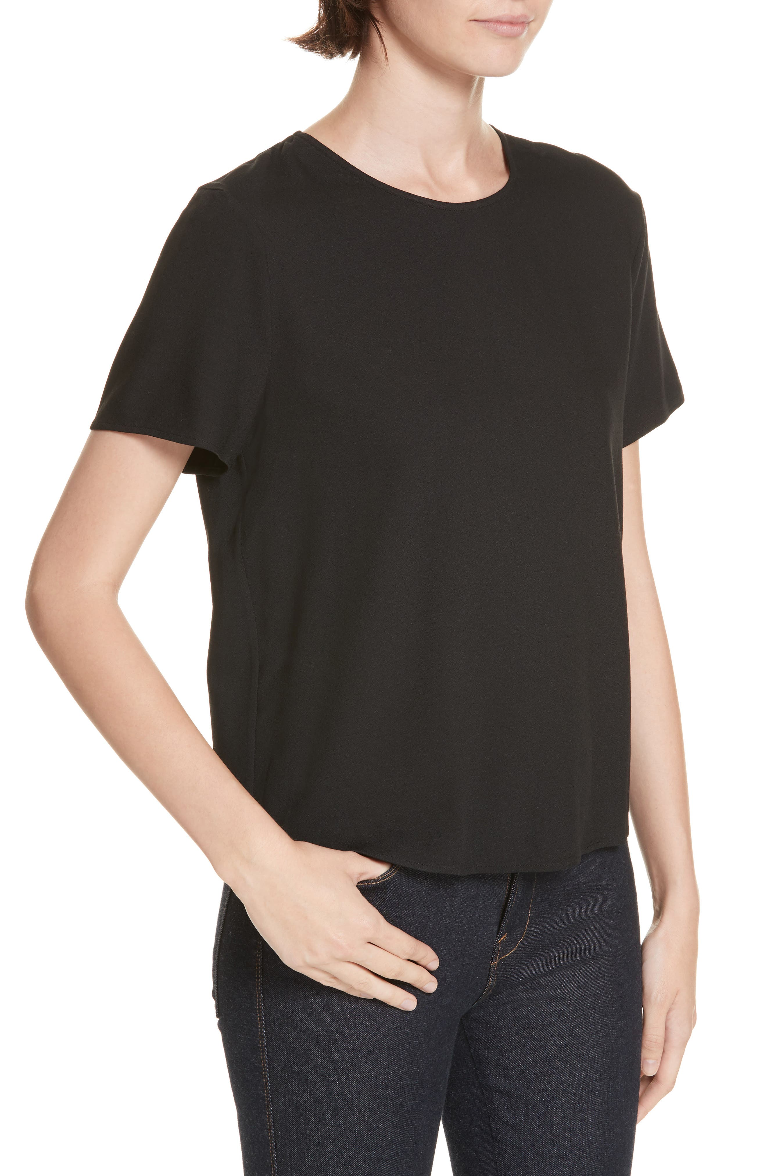 Crepe Tee,                             Alternate thumbnail 4, color,                             BLACK