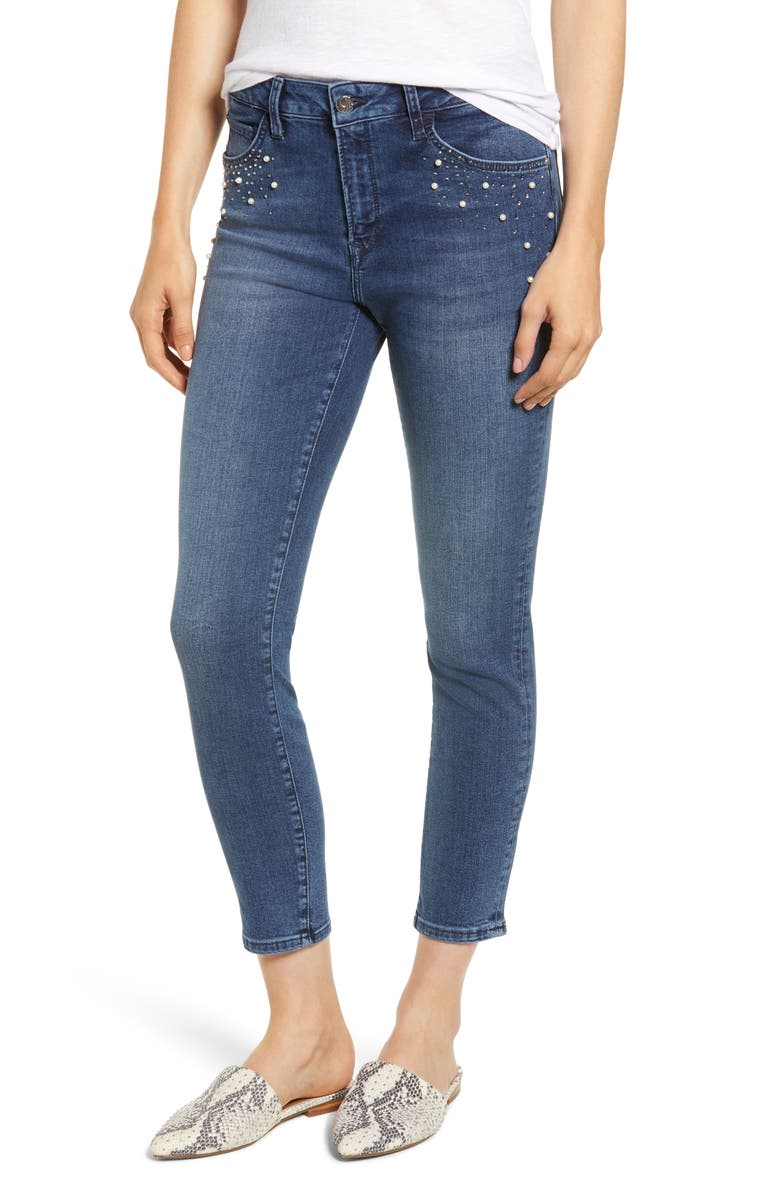 Mavi Jeans TESS FAUX PEARL & CRYSTAL EMBELLISHED SKINNY JEANS