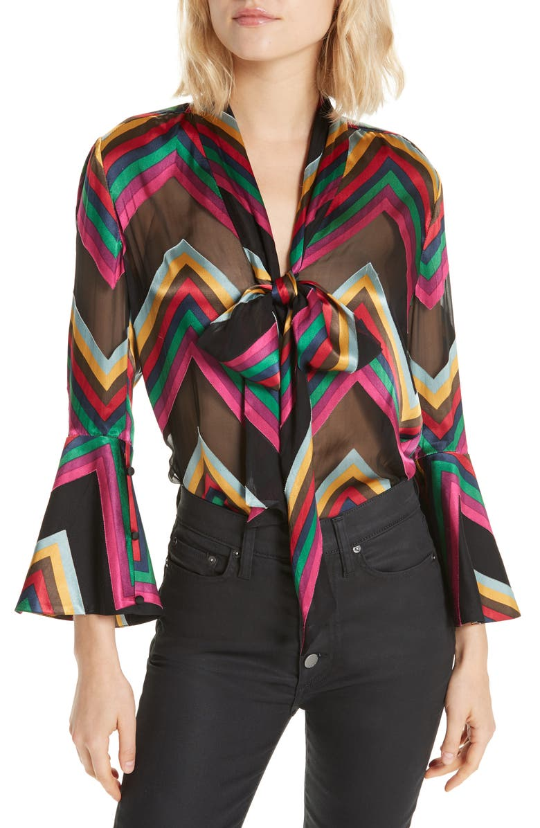 Meredith Silk Blend Bow Blouse,                         Main,                         color, MULTI CHEVRON