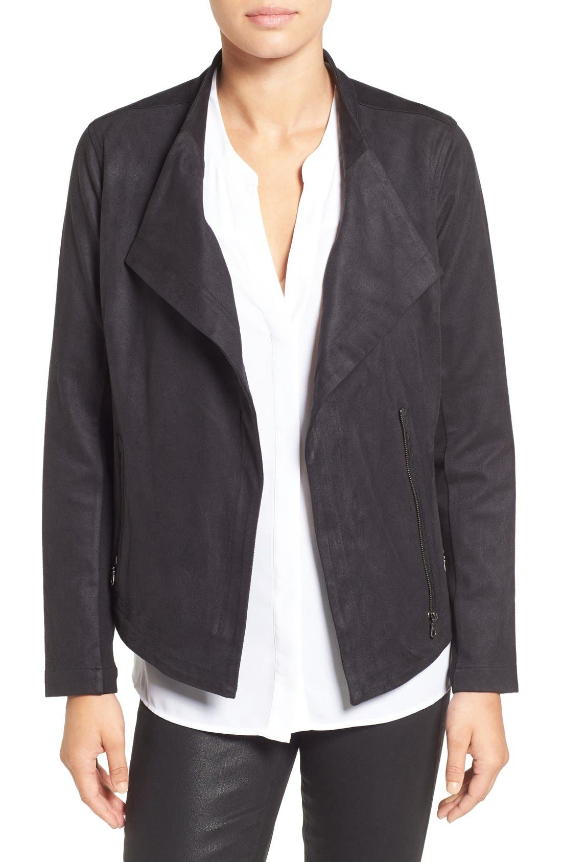 NIC+ZOE Faux Suede Moto Jacket, Main, color, 004